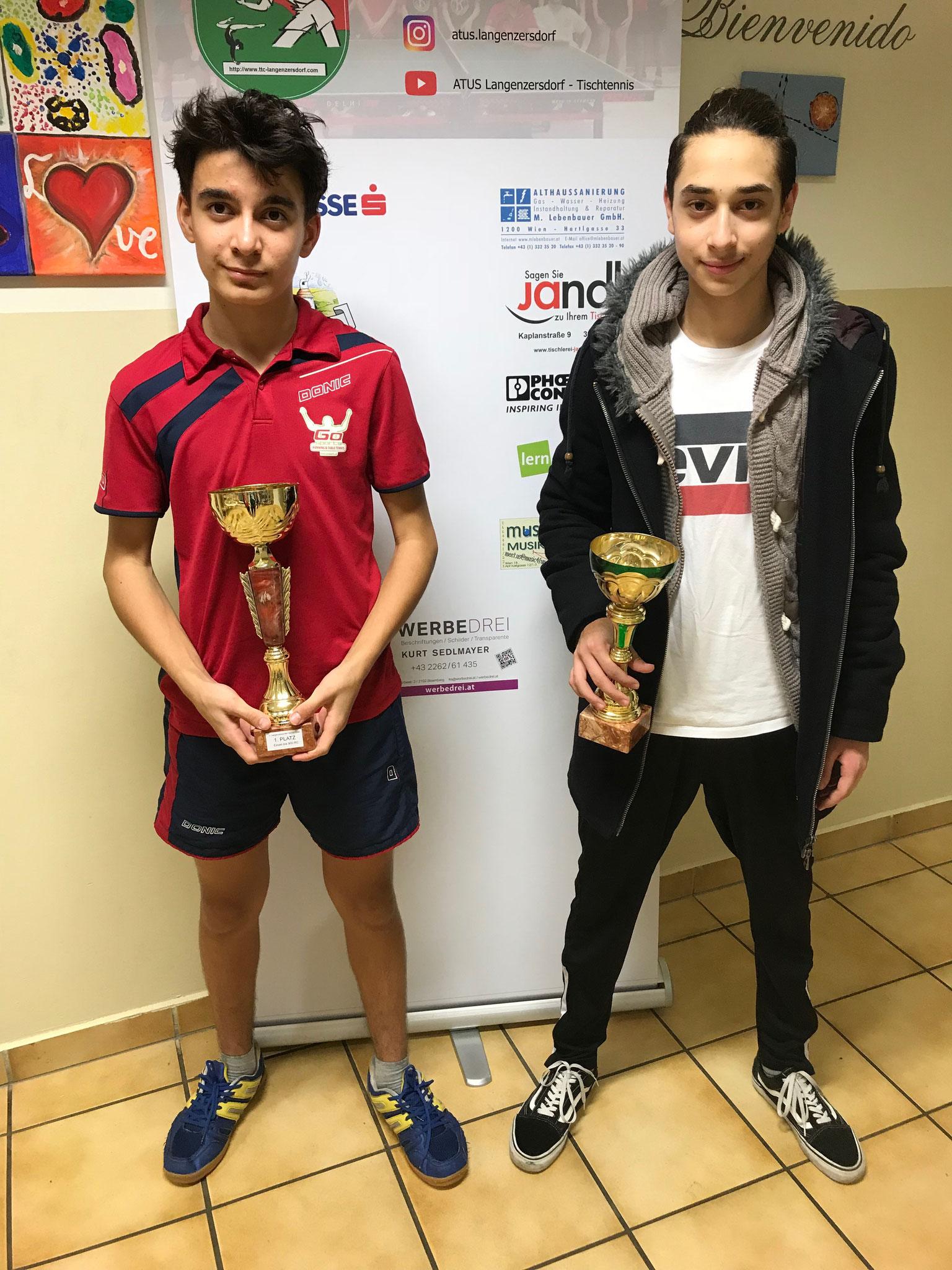 Siegerfoto Bewerb E: v.l.n.r. Amir Sam Poppenwimmer (LENZ) (Sieger), Aykut Karabas (KAI) (Platz 2)