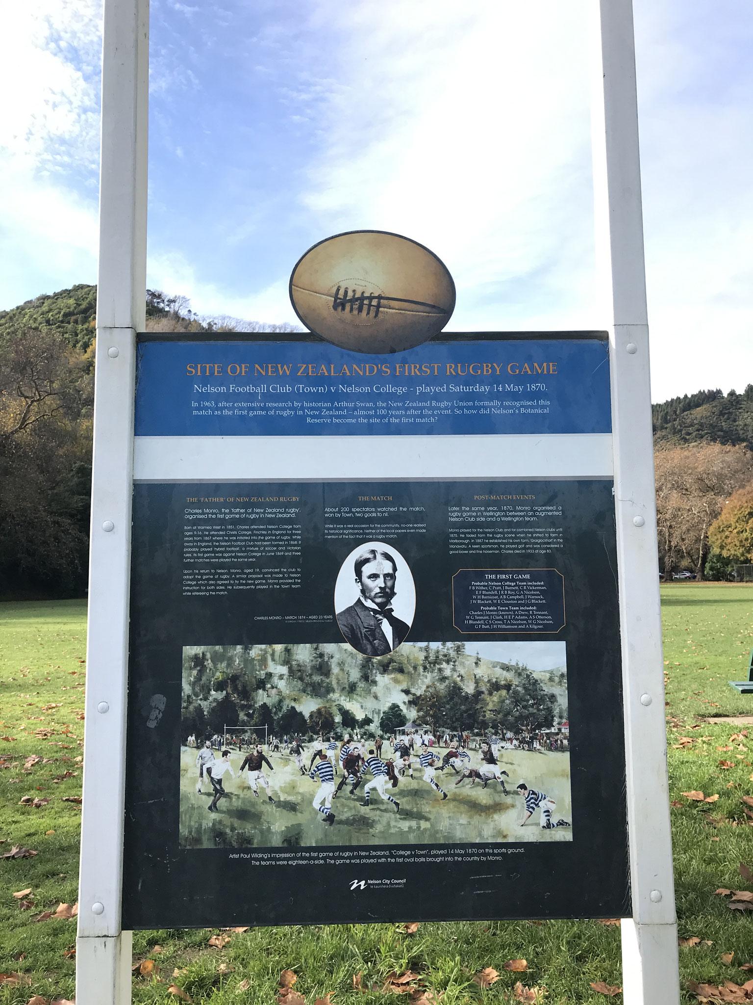 ニュージーランドといえばラグビー。ラグビーの試合が最初に行われたのはネルソンのこの公園
