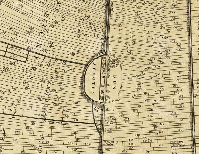 Bunschoten Centrale as op Leggerkaart uit 1666