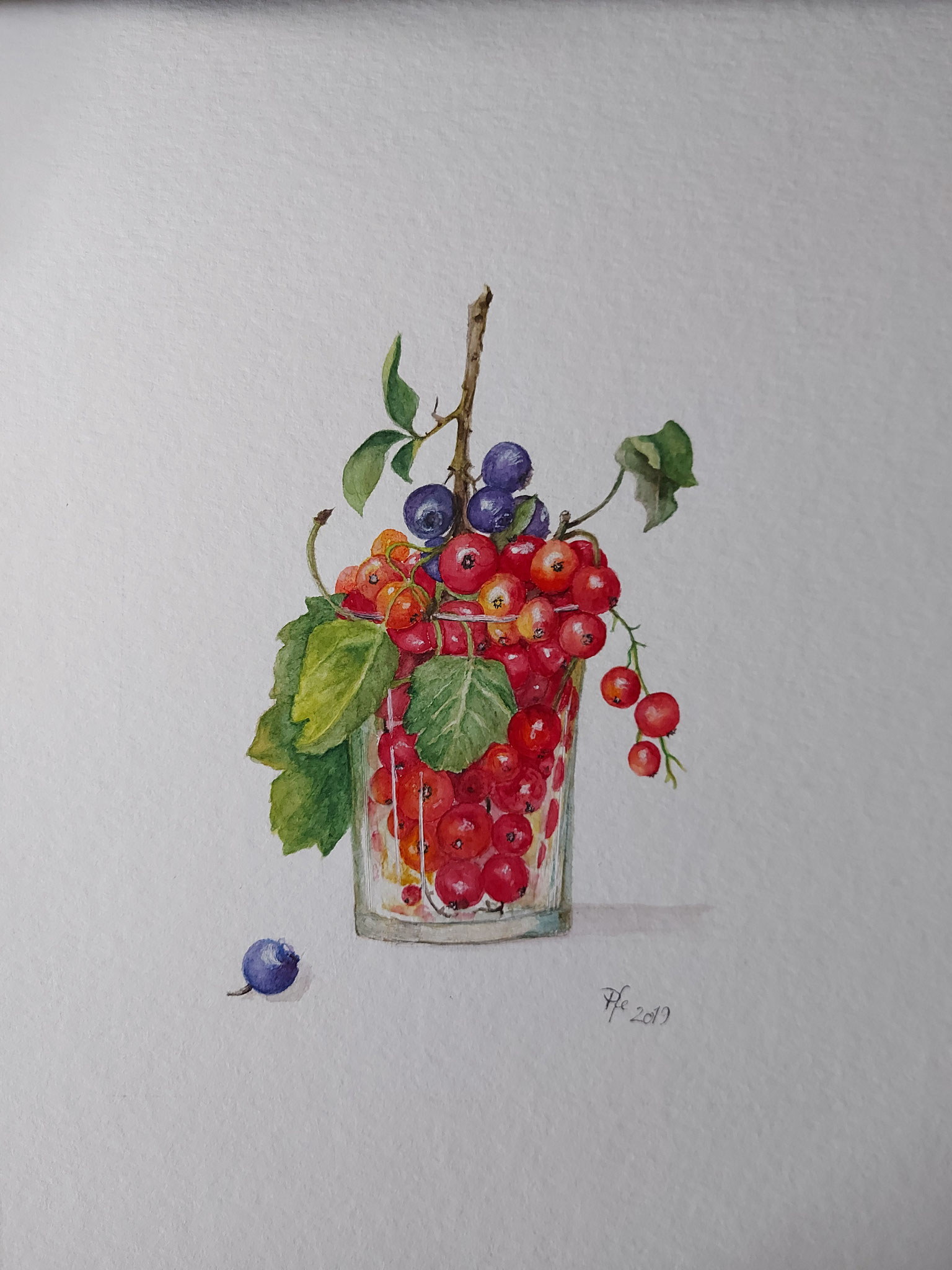 8.2., Früchte-Cocktail, Gemälde der Ludwigsfelderin Ursula Pfeffer, A37