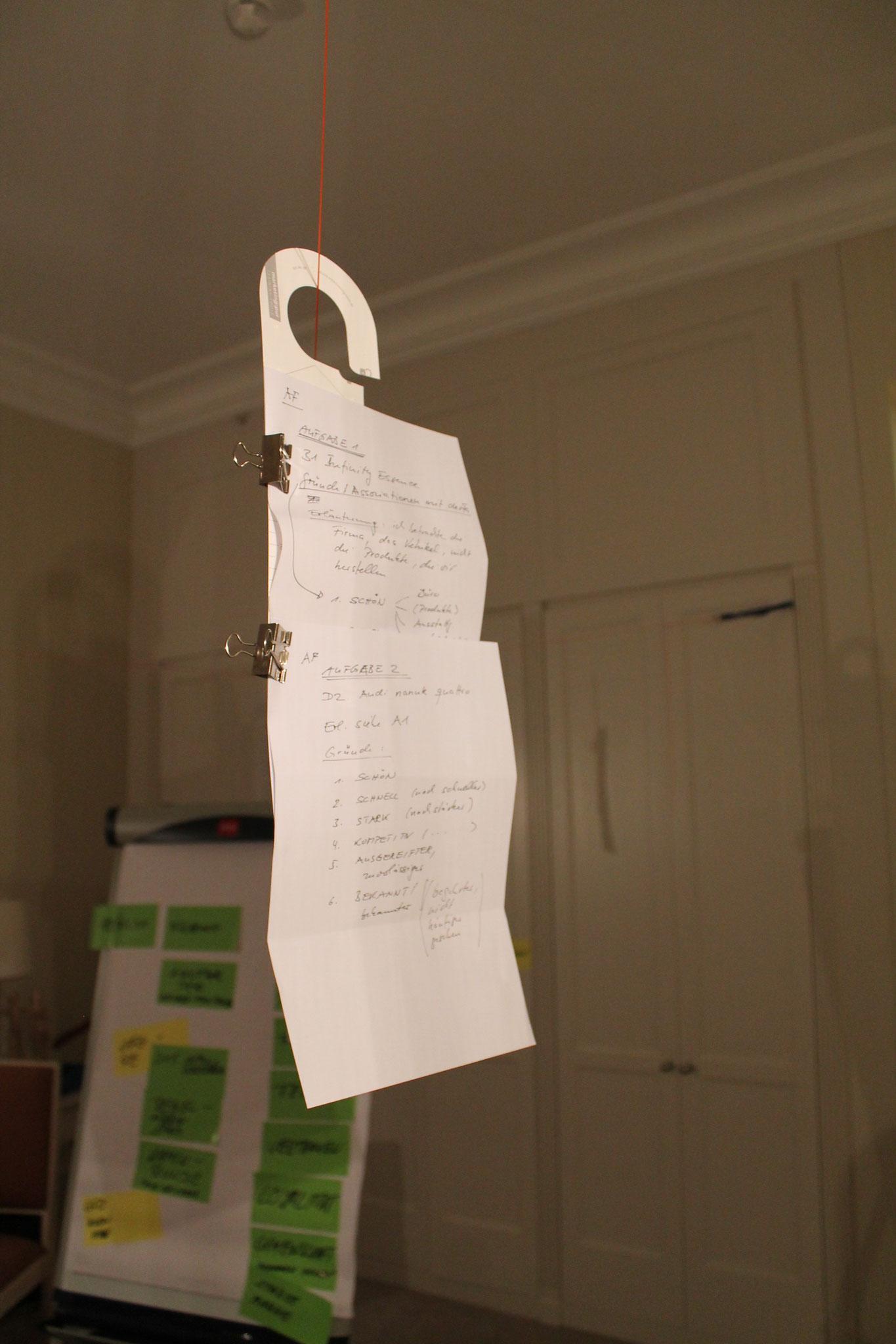 In kleinen Gruppen oder in Coachings können z. B. Ausarbeitungen sichtbar im Raum hängen