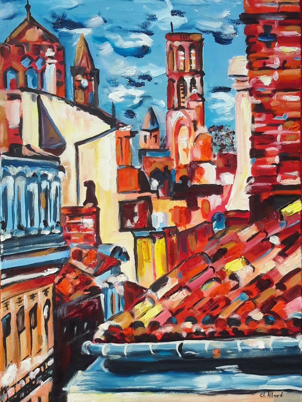 Toulouse et ses trois tours (Huile)