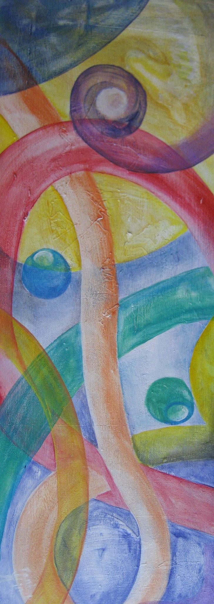 Farbspielerei 5  -  F113 -  81,5x30cm  -  Acryl aufHartfaser, Lasuren  -  10.11.2015  -  240€