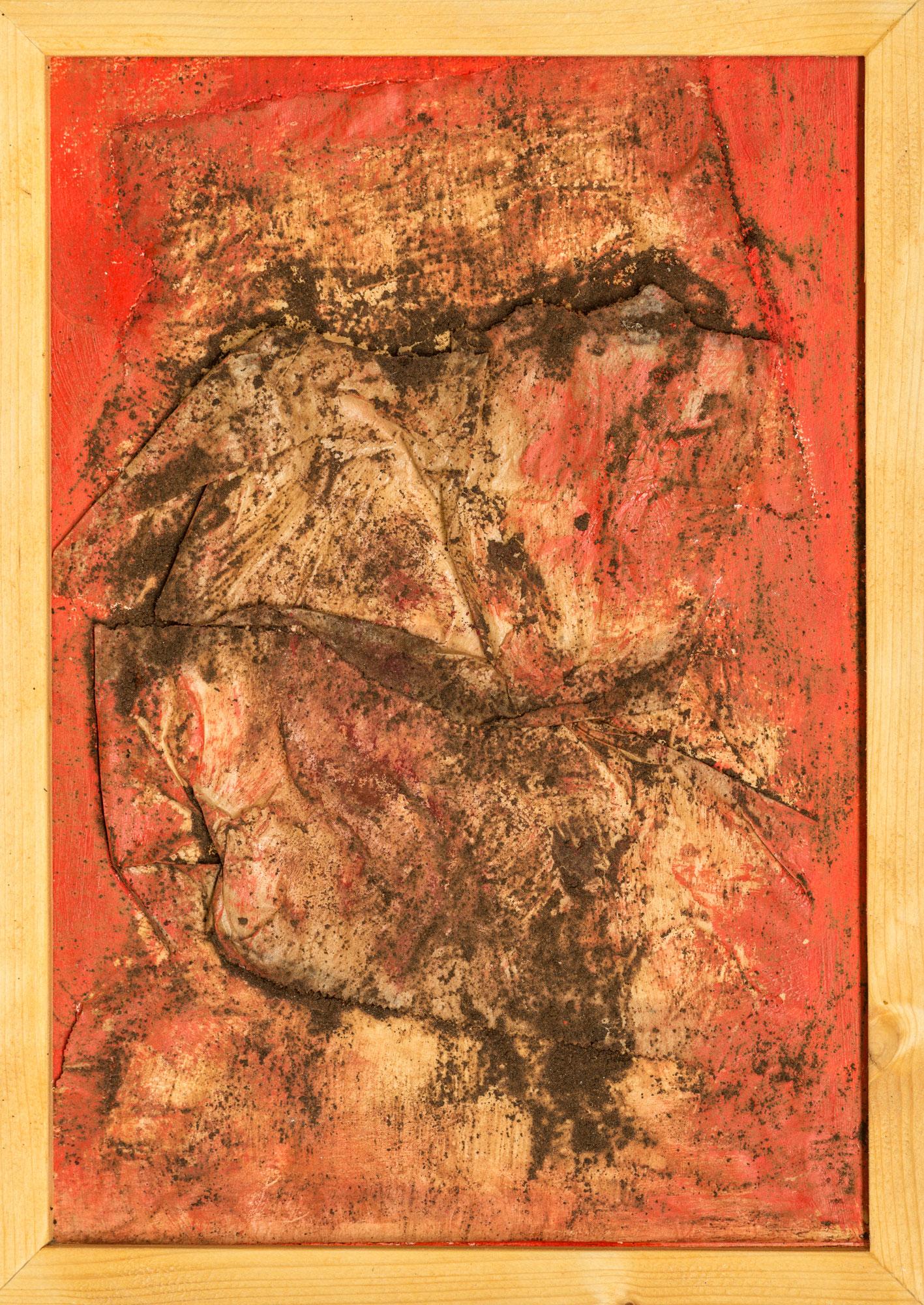 o. T.; Papier, Kaffeesatz, Acryl; 35cm x 24cm