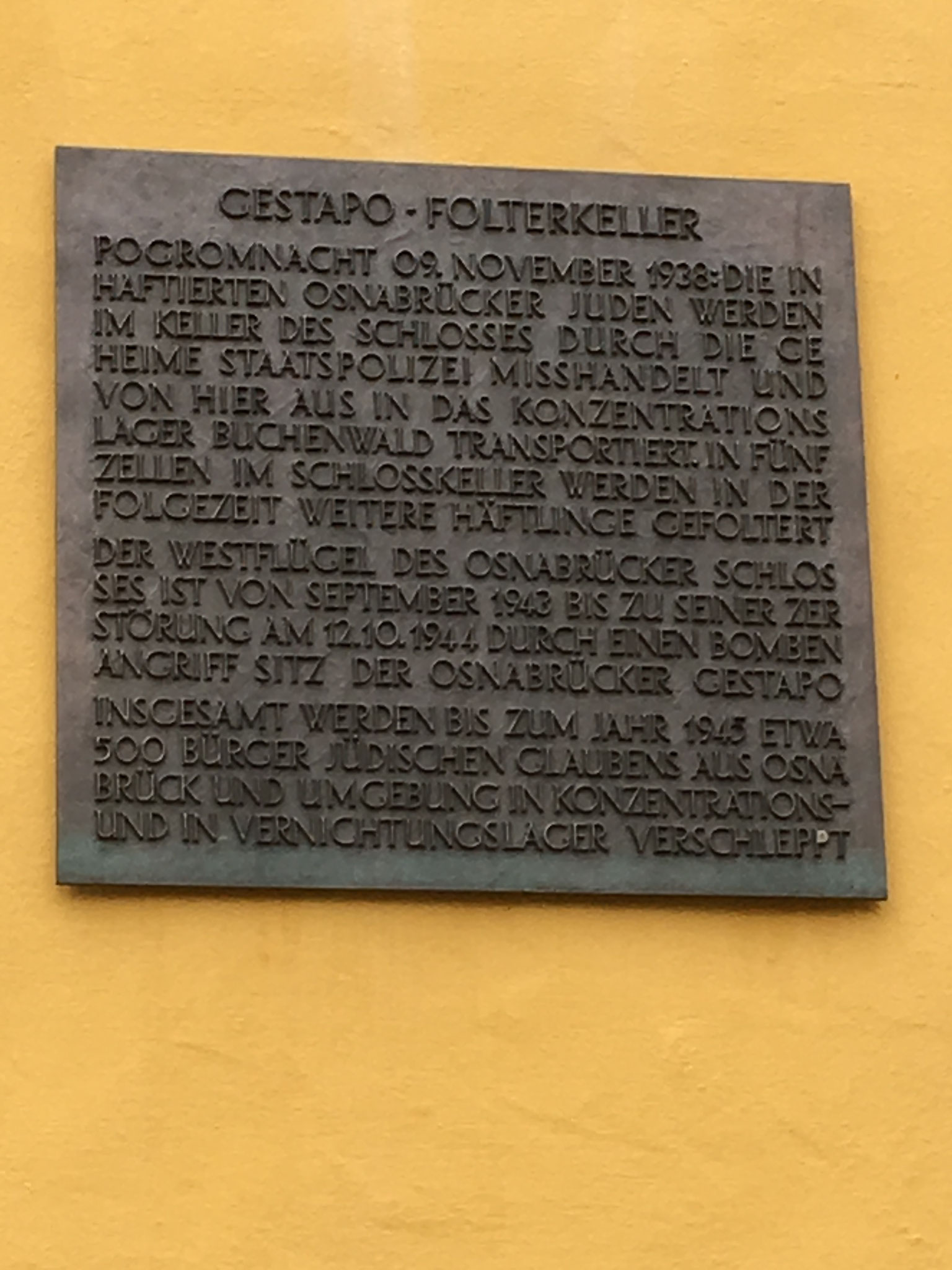 Gedenktafel am Gestapokeller