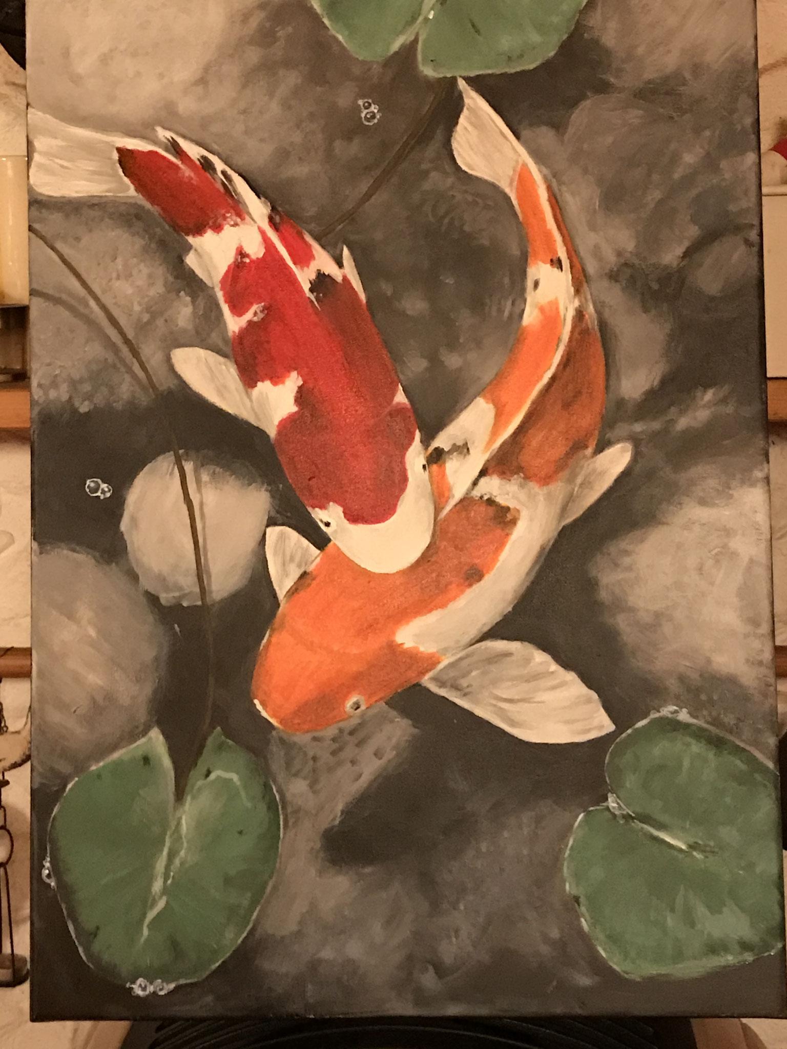Kois, gemalt nach einem Foto aus dem Internet