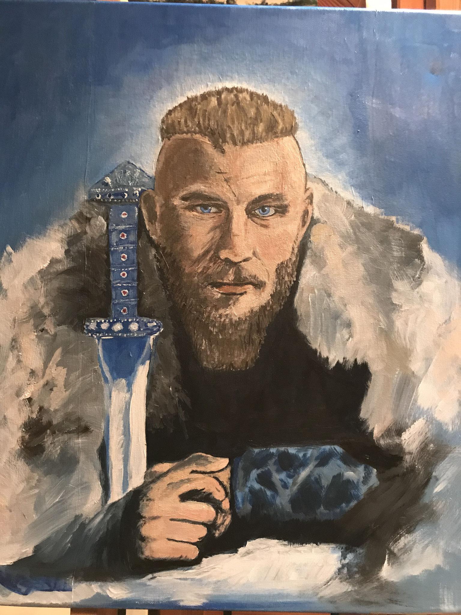 Ragnar Lodbrock, Hauptfigur aus der Serie Vikings, nach einem Foto