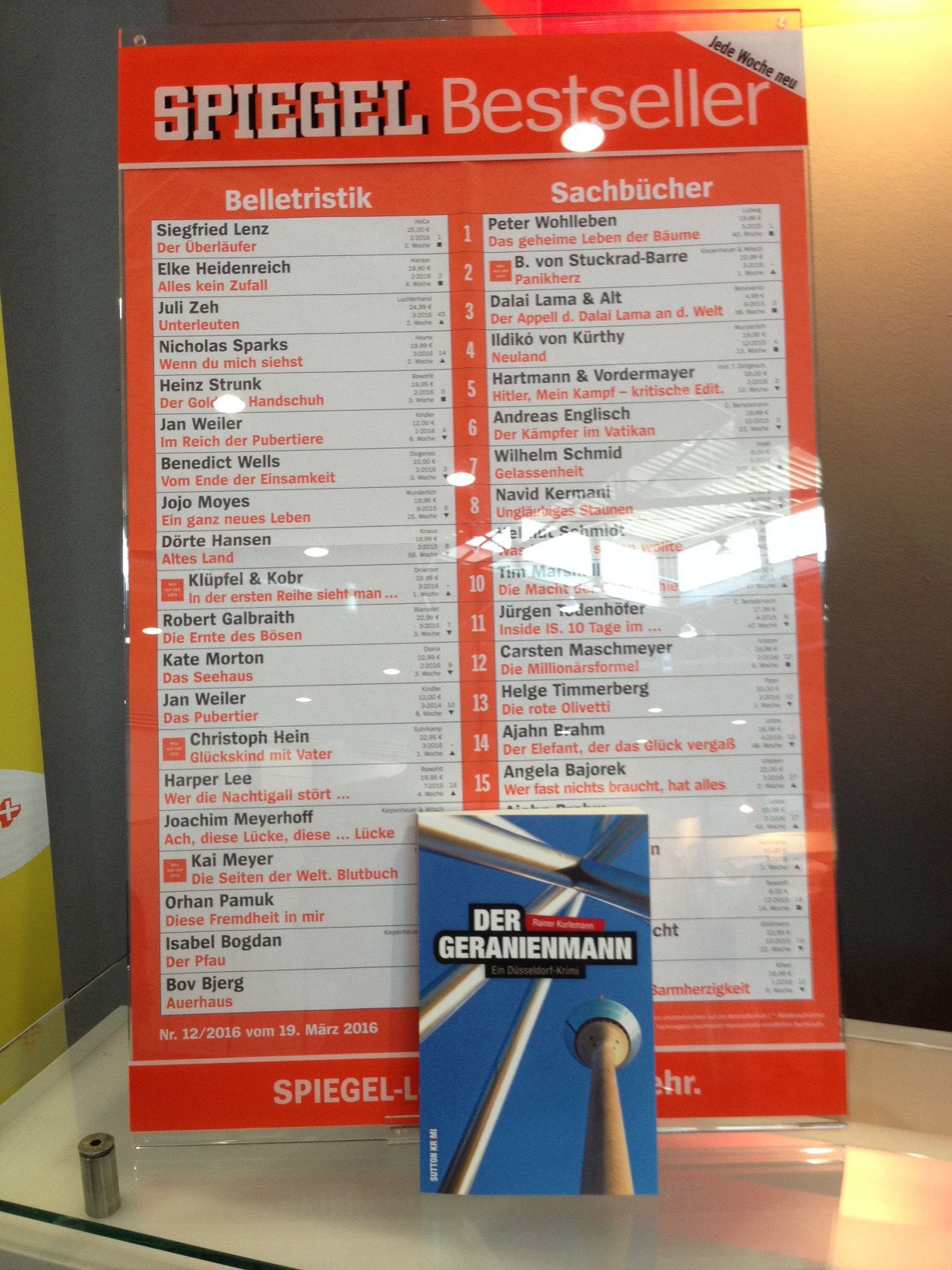 Der Geranienmann auf der Spiegel-Bestsellerliste