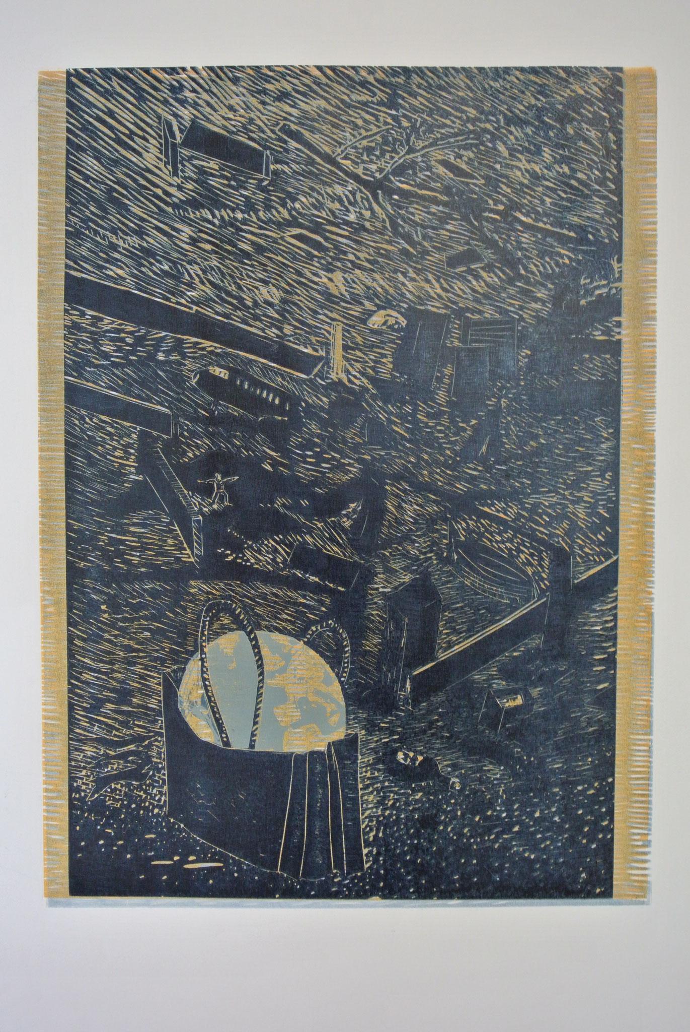 """""""Aus der 2. Werkserie """"EINE ERDGESCHICHTE in 3 Akten"""" Holzschnitt 44cm x 60cm (verlorene Platte)"""