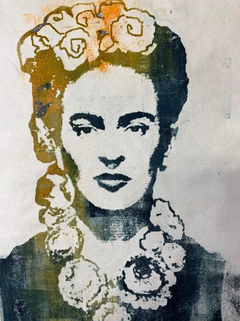 Maribel Brandis: ~FRIDA KAHLO~ Transferlithografie. 50x50