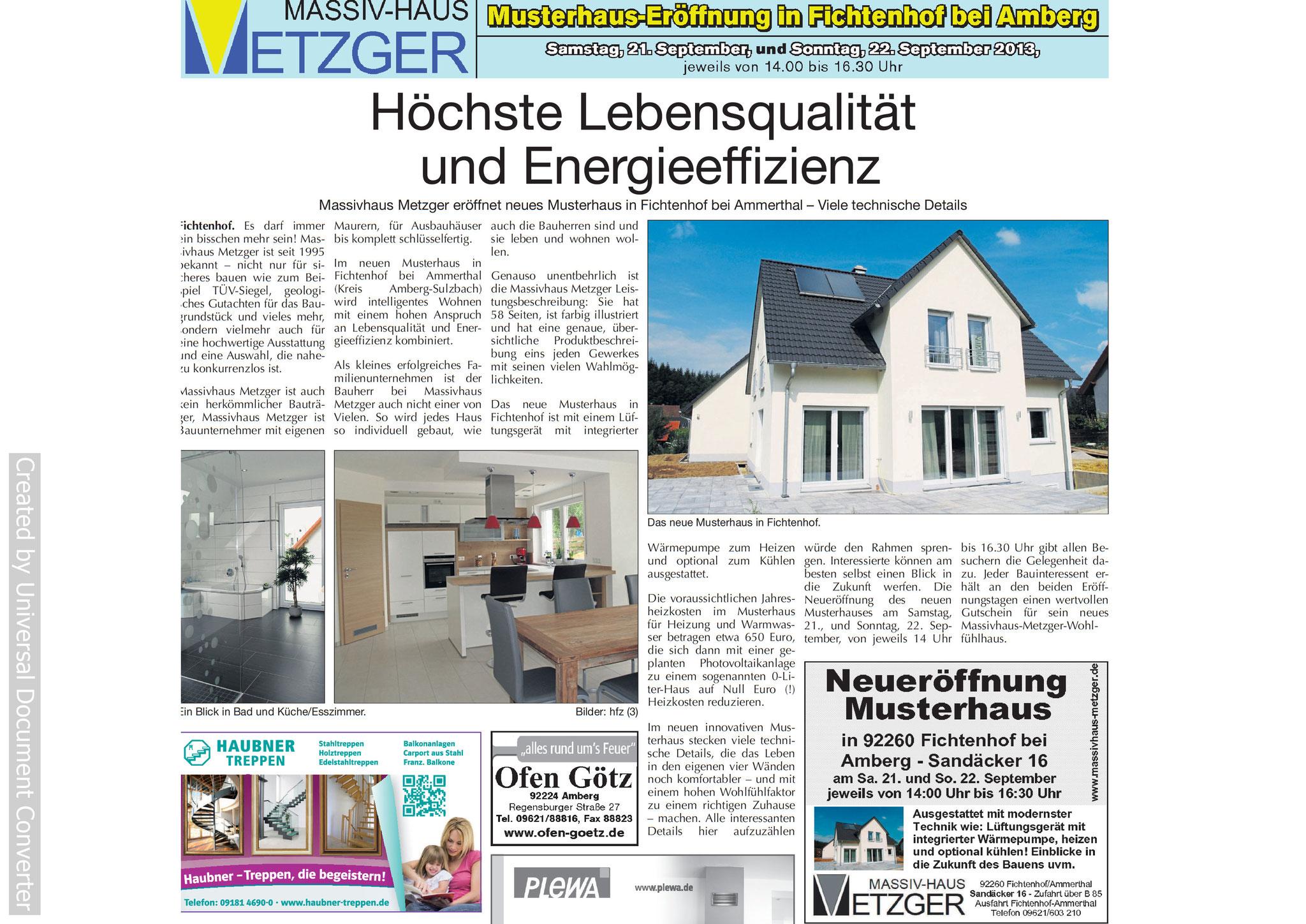 Massivhaus Metzger in der Presse