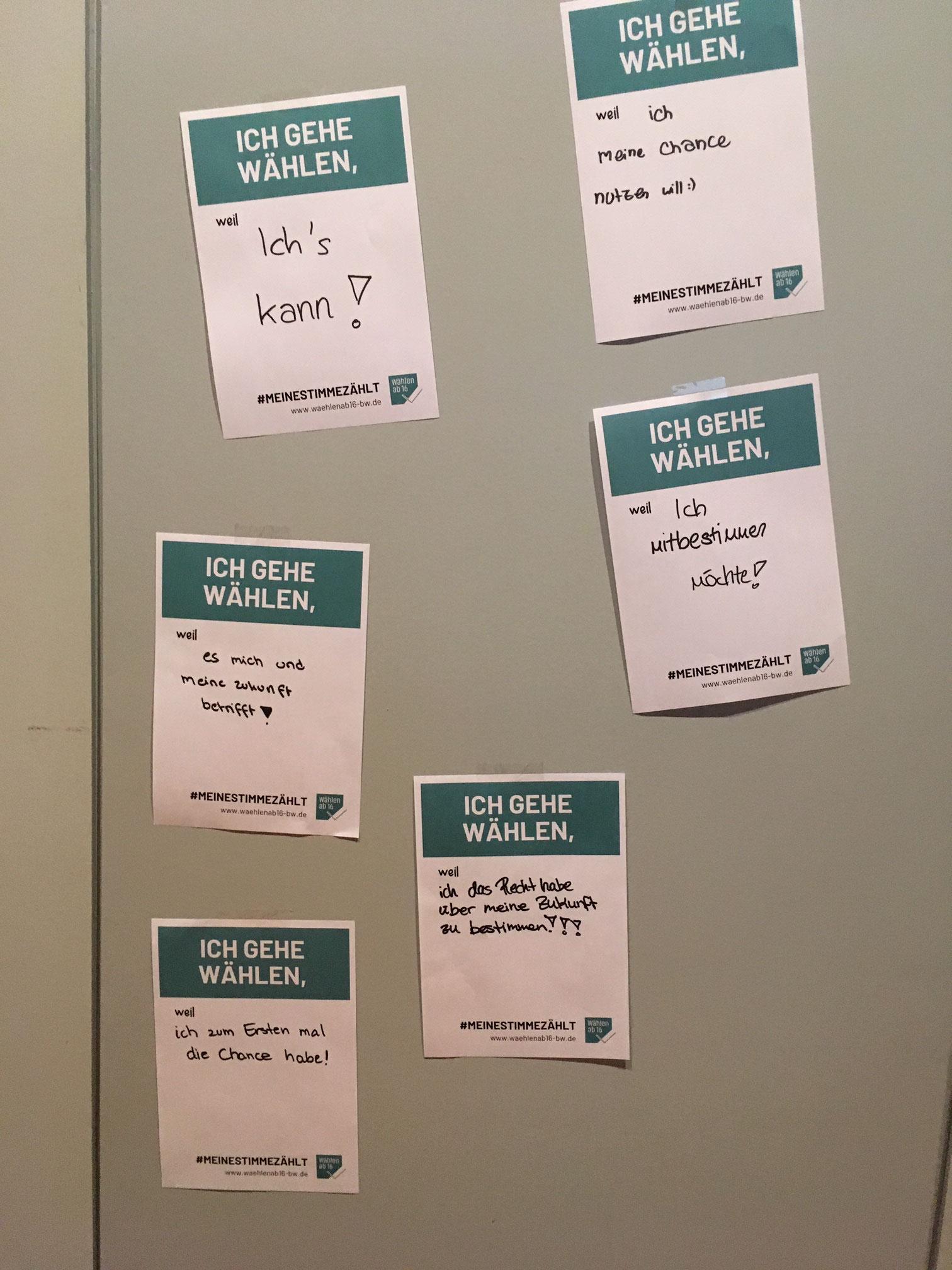 Die Teilnehmer konnten ihren Beweggrund zu wählen mitteilen und über den #MEINESTIMMEZÄHLT verbreiten