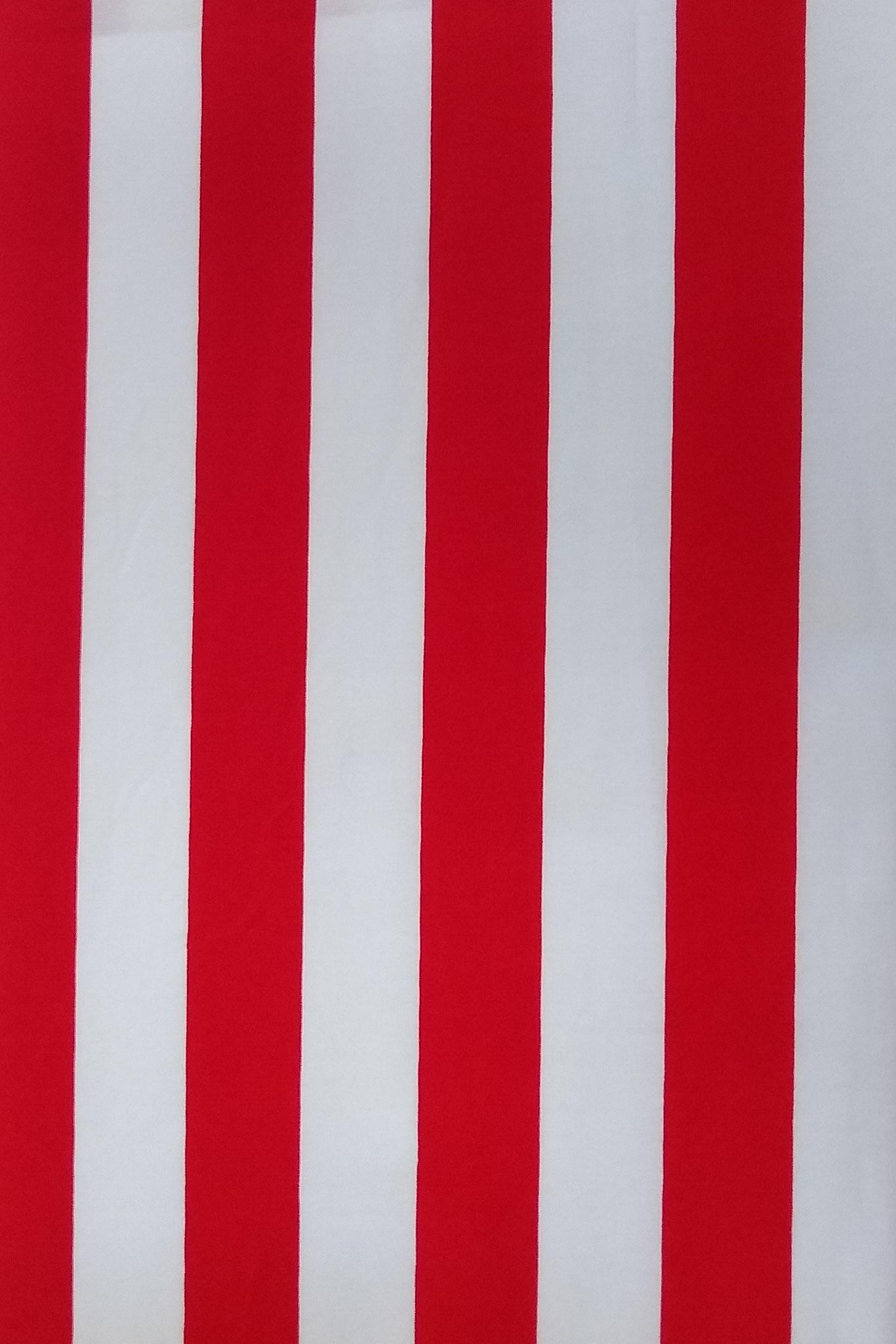 Baumwolle Streifen rot/weiß, 140 cm breit, 0.5m 6.00€