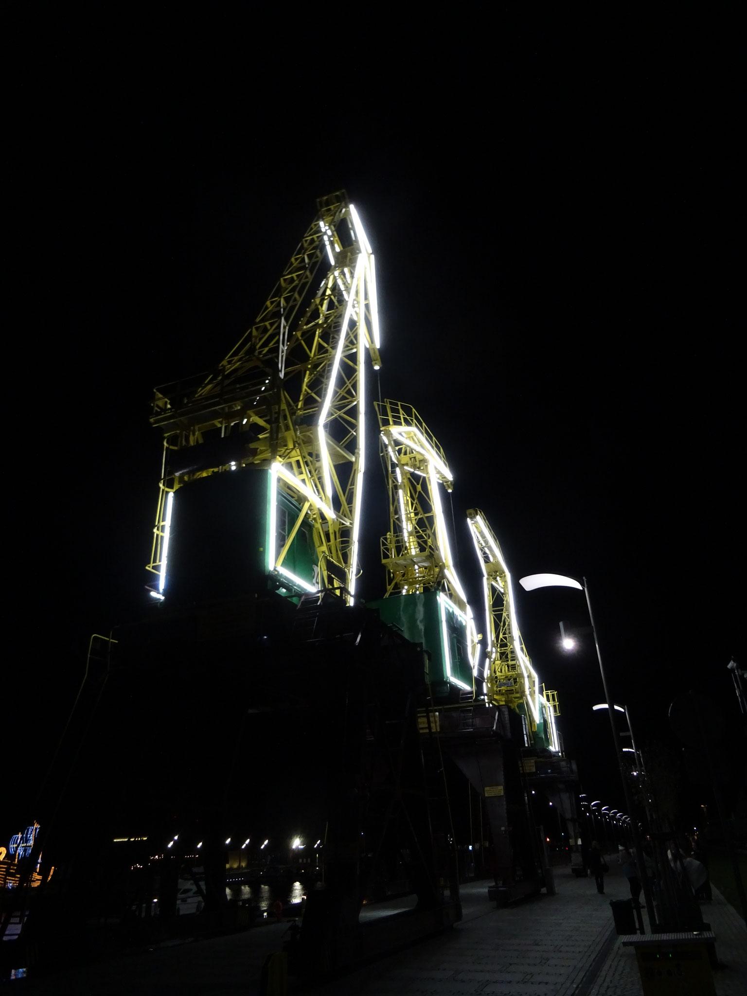 Stettin Hafen Nacht alte Krananlage Lichtinstallation weiß gelb