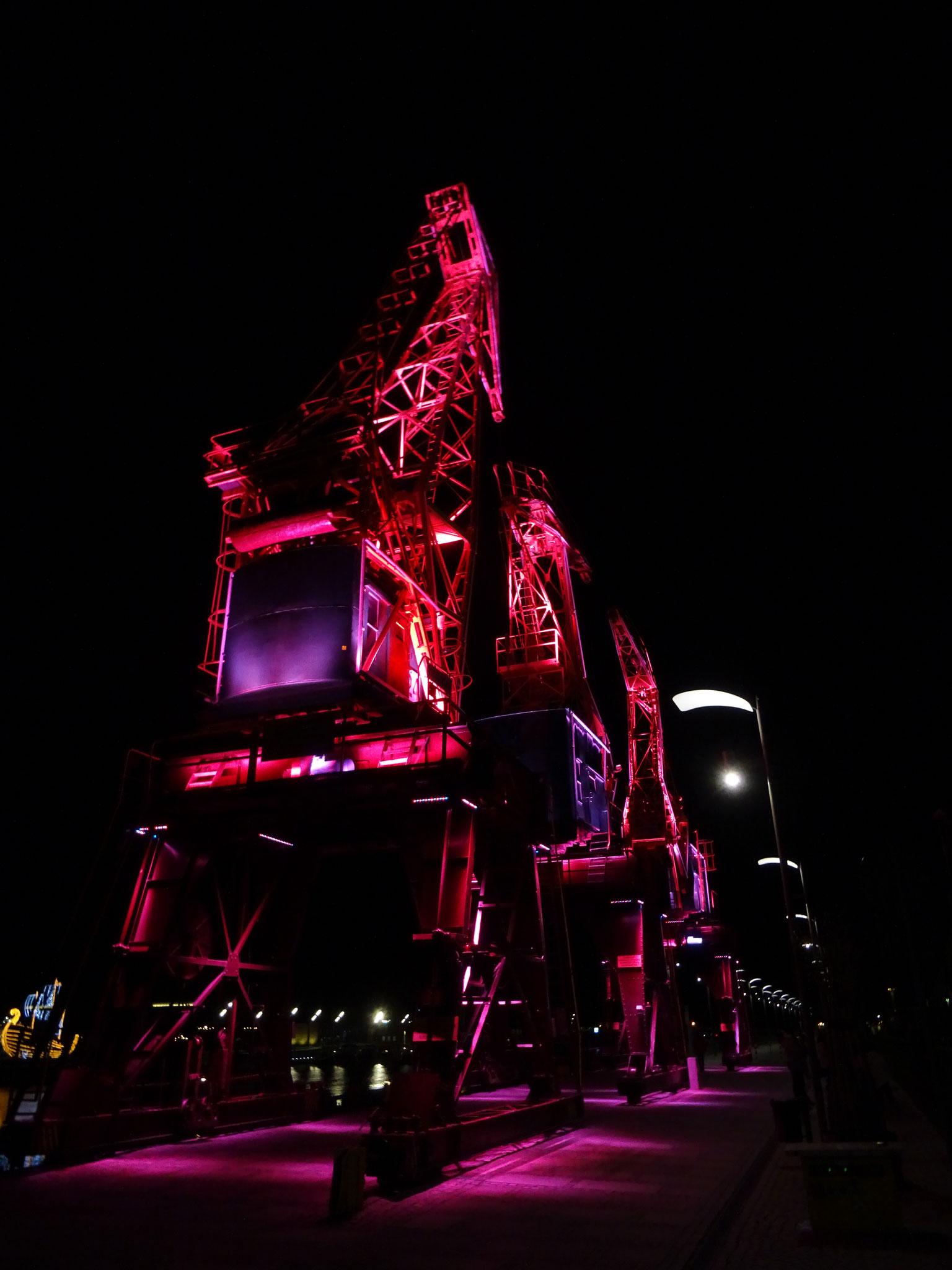 Stettin Hafen Nacht alte Krananlage Lichtinstallation rot pink magenta