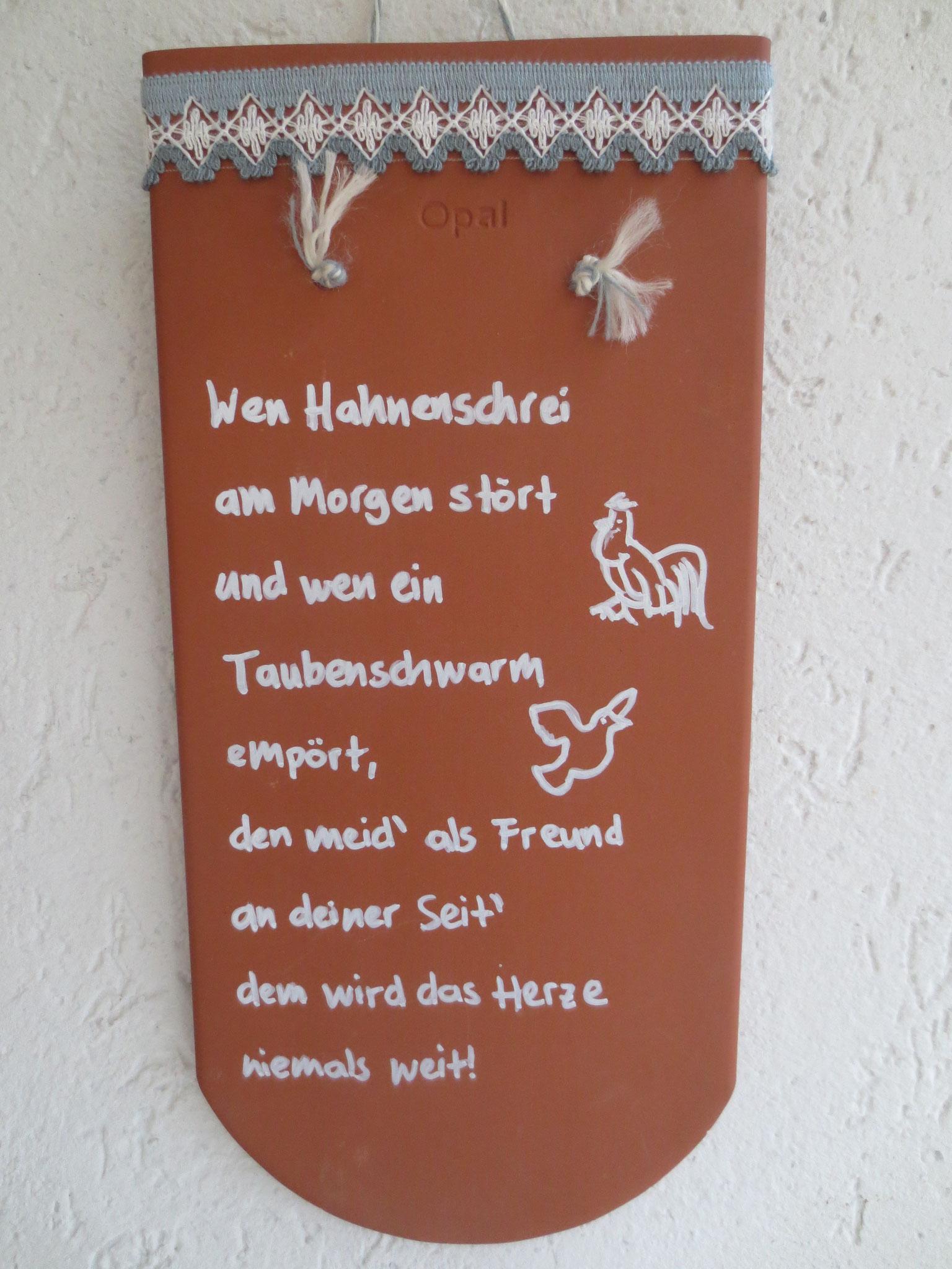 Solchen Ziegel hat Zfr. Thomas Gühl für jeder unserer Rassen gestiftet. Sie werden auf der HSS in Maihingen von den Preisrichter vergeben.