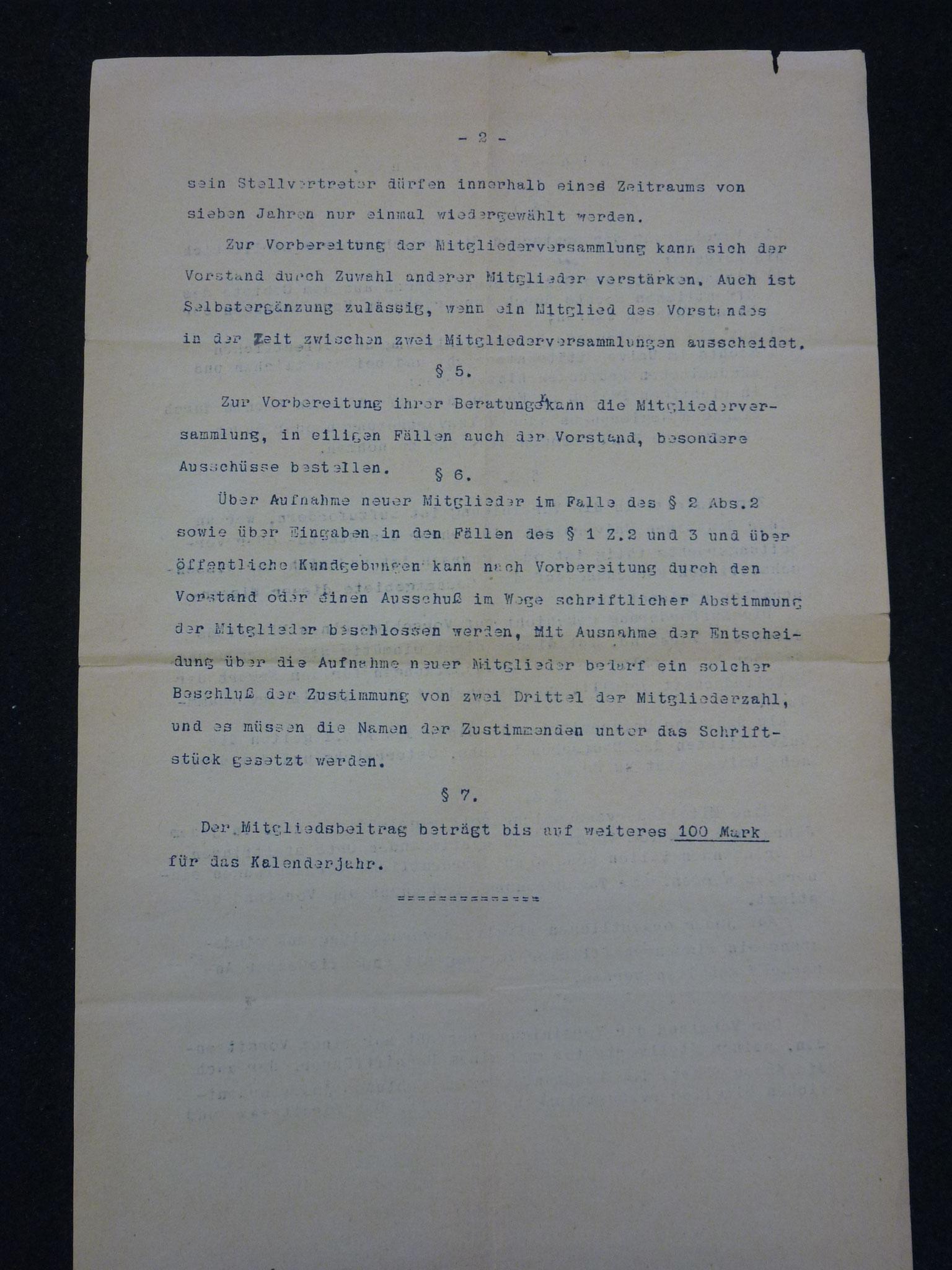 Entwurf einer Satzung der Vereinigung 1922 / 2
