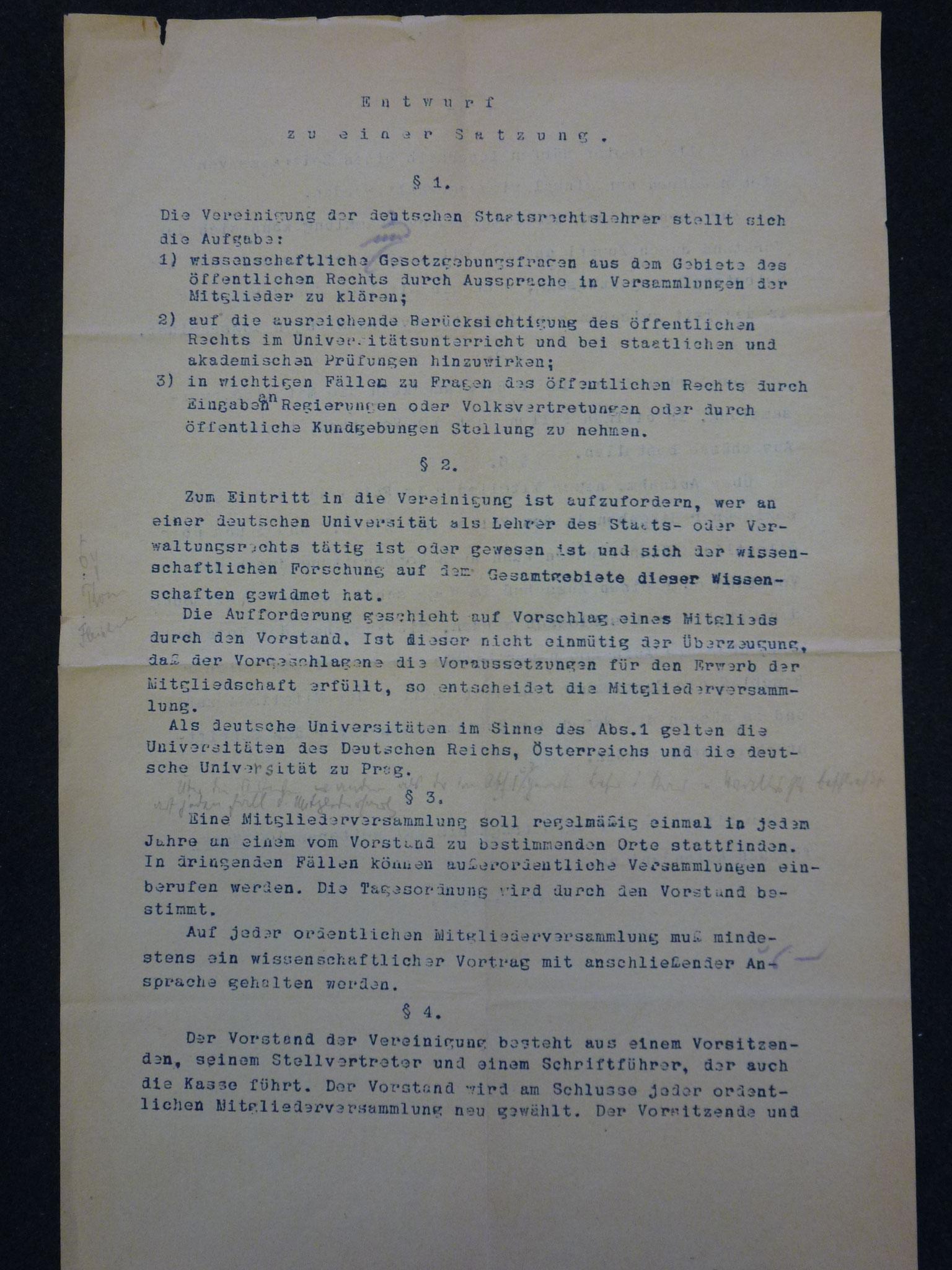 Entwurf einer Satzung der Vereinigung 1922 / 1