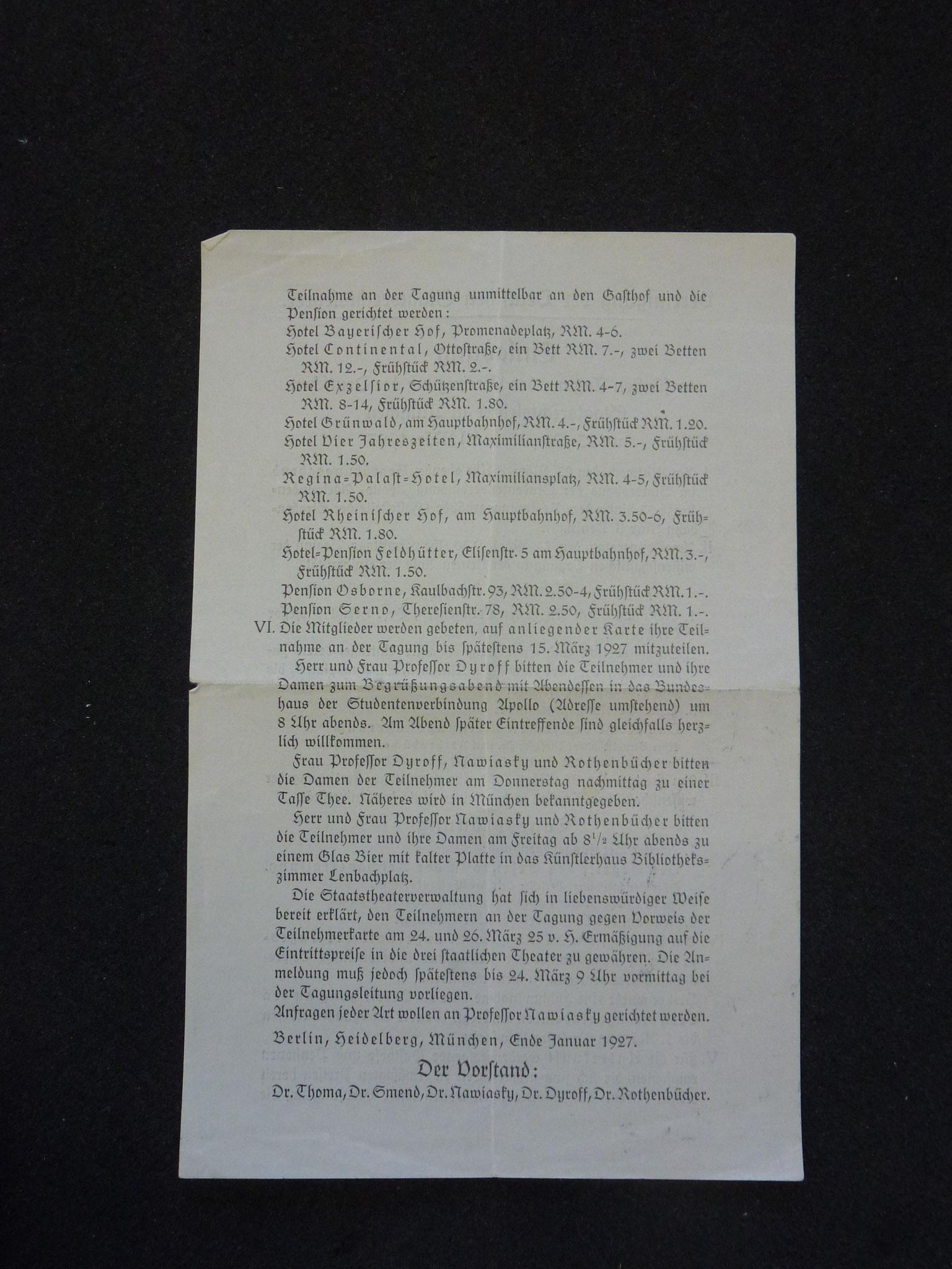 Einladung zur 5.Tagung in München 1927 / 2