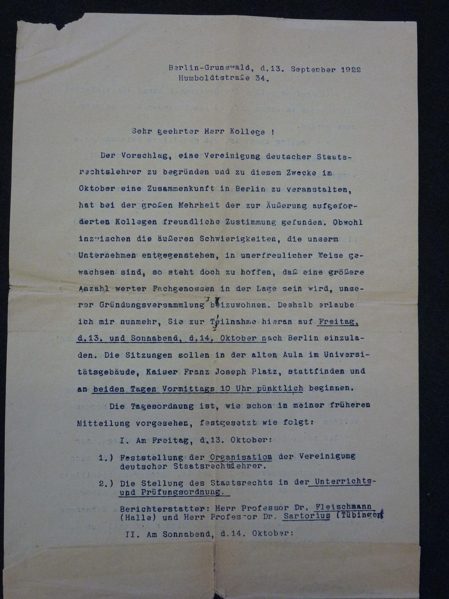 Brief von Triepel zum Vorschlag der Gründung der Vereinigung 1922 / 1