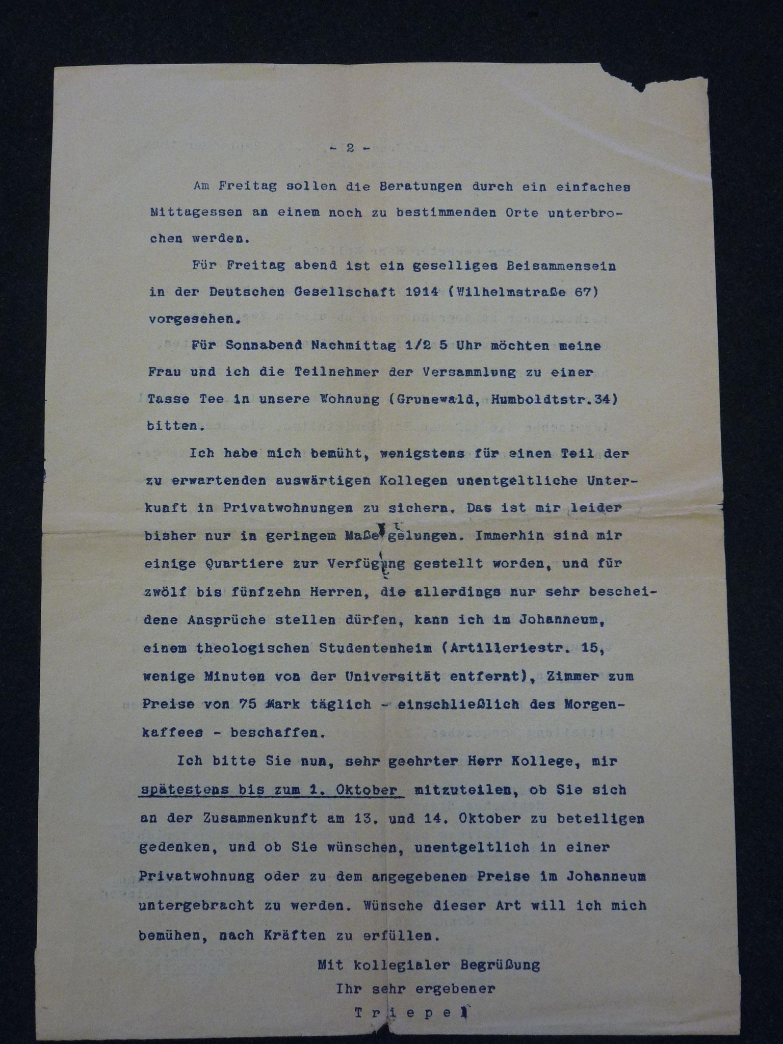 Brief von Triepel zum Vorschlag der Gründung der Vereinigung 1922 / 2