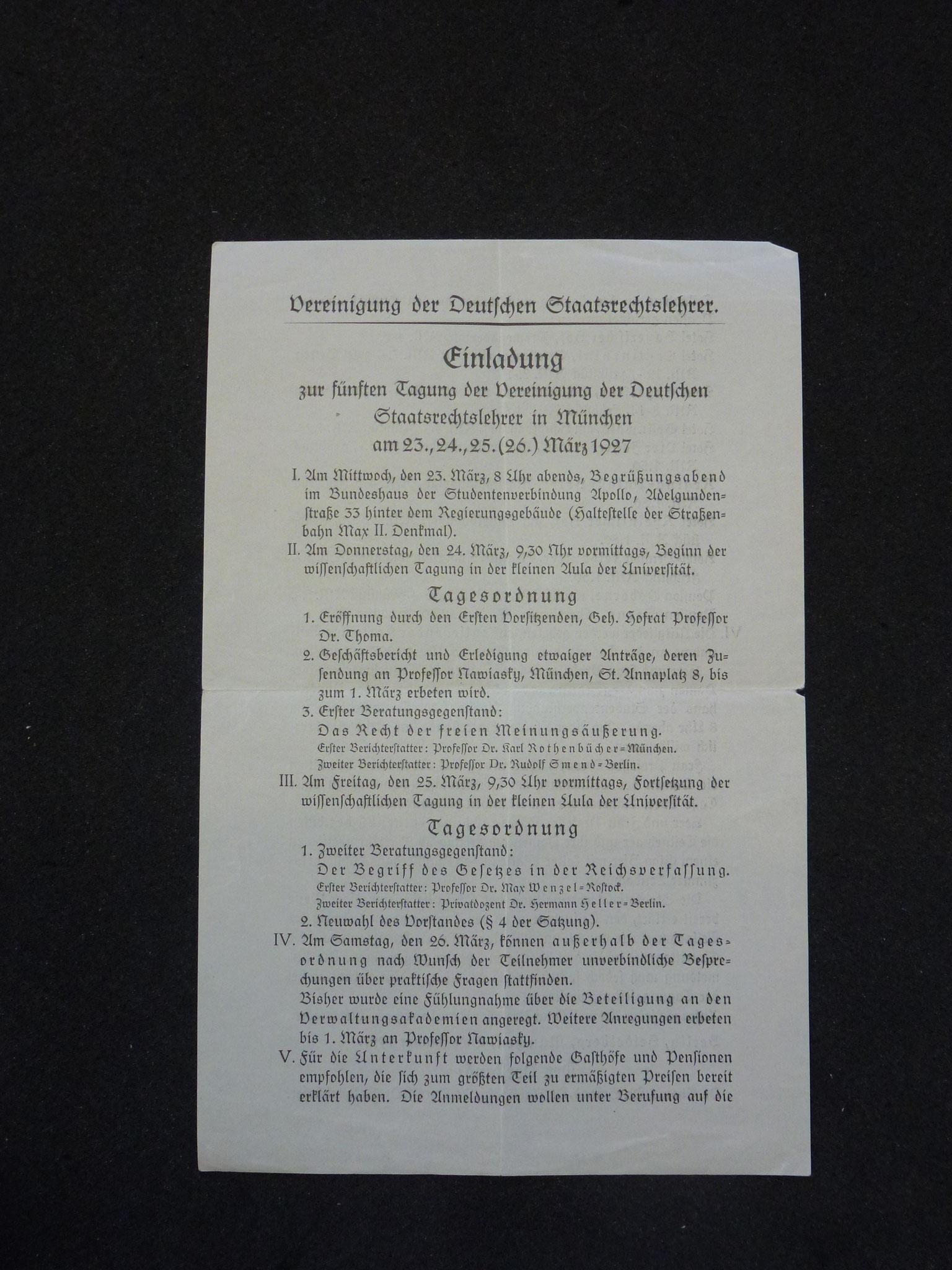 Einladung zur 5. Tagung in München 1927 / 1