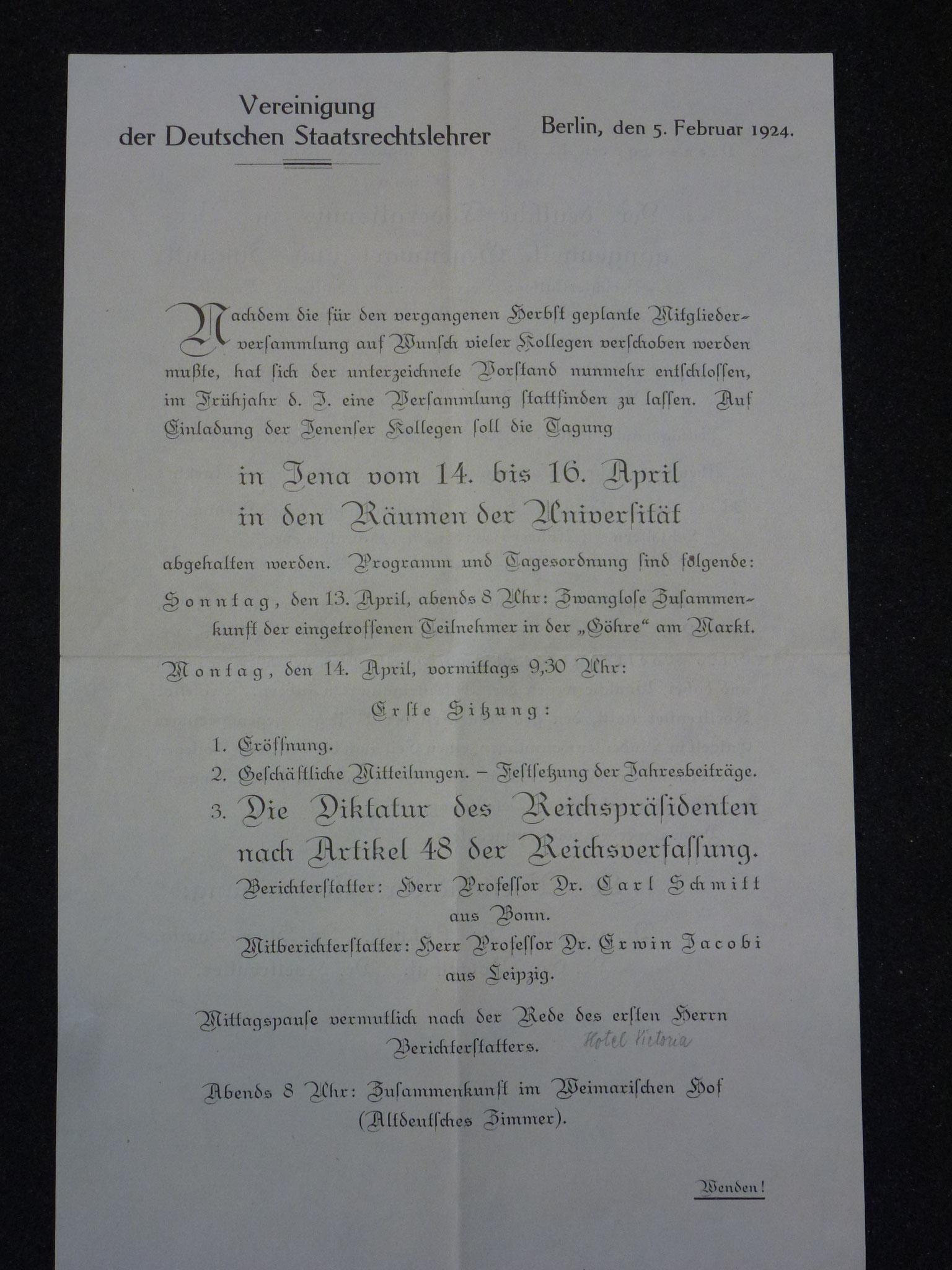 Einladung zur Tagung in Jena 1924 / 1