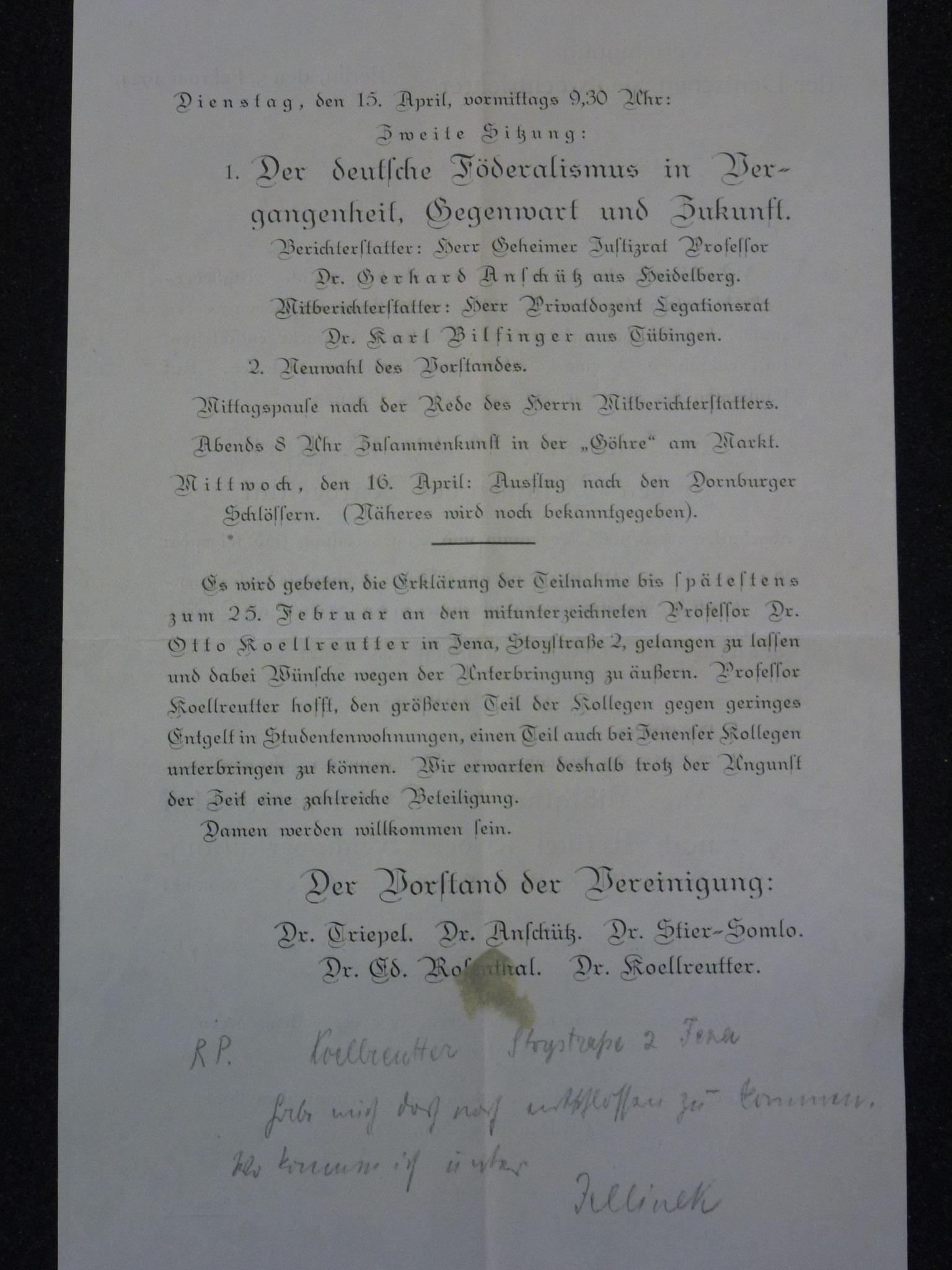 Einladung zur Tagung in Jena 1924 / 2