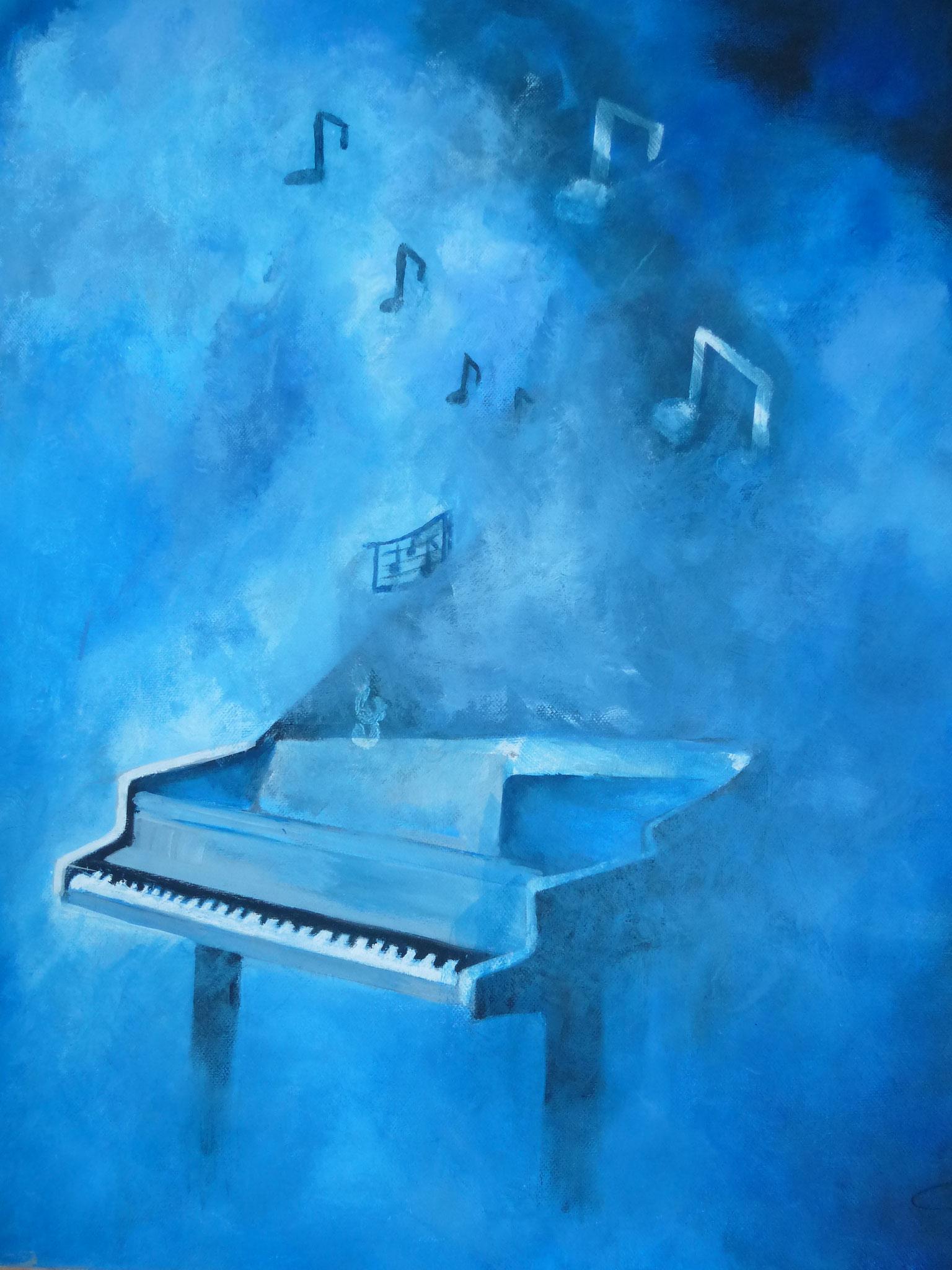 """""""Symphonie en bleu"""" acrylique de Ginette CAZAL"""