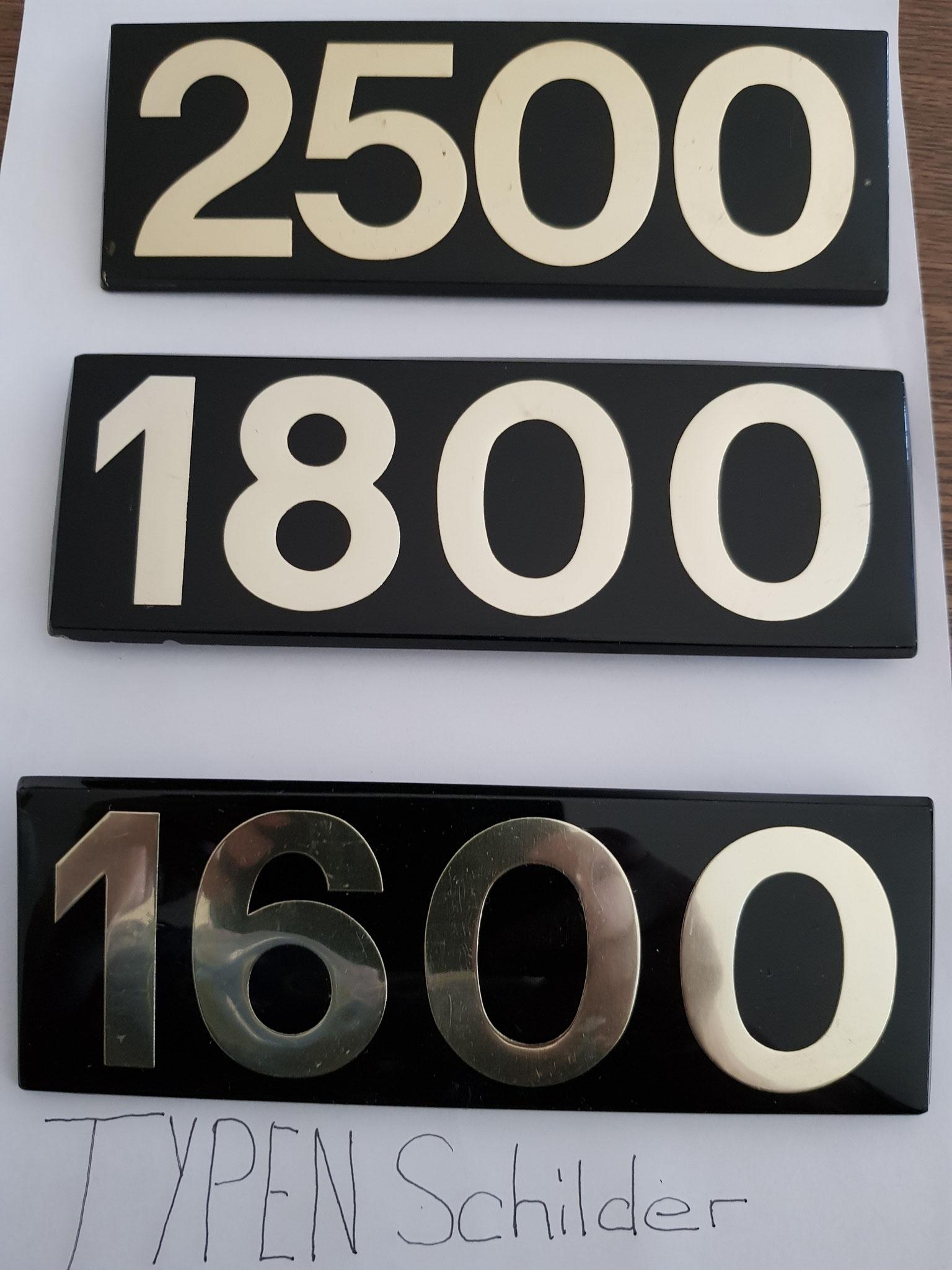 Typenschilder 2500/1800/1600