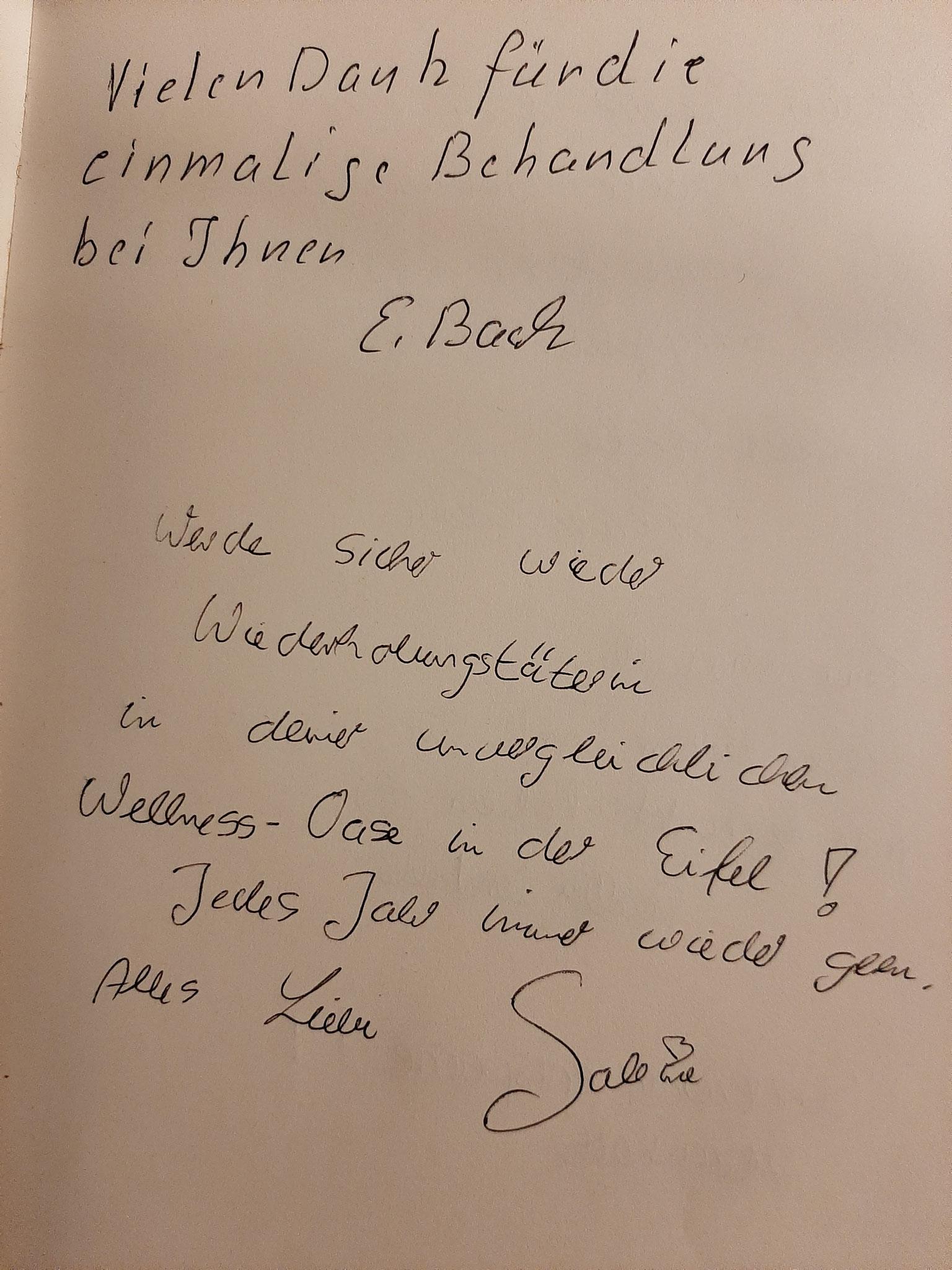 Aus dem Gästebuch im Institut
