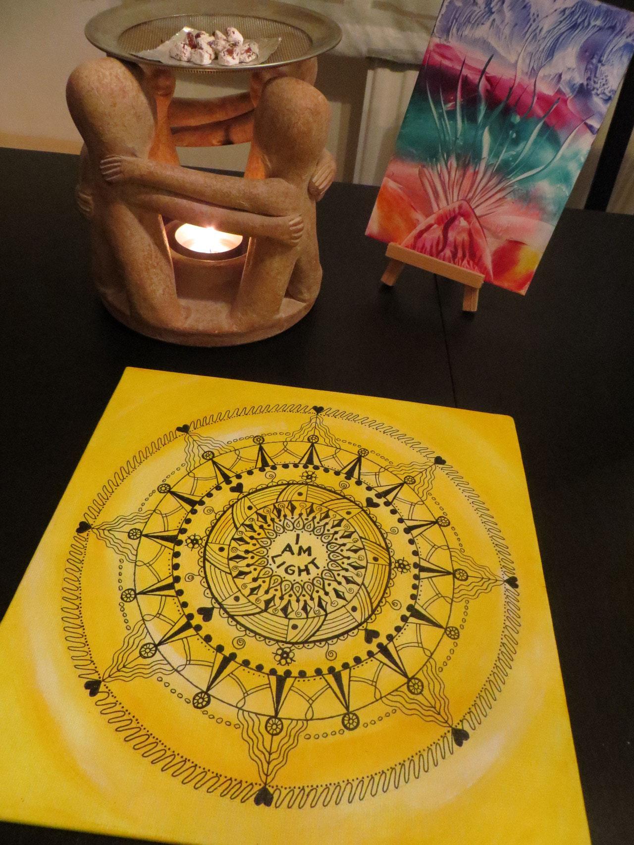"""in guten Händen """"I am light"""" Mandala auf Malkarton 20x20"""