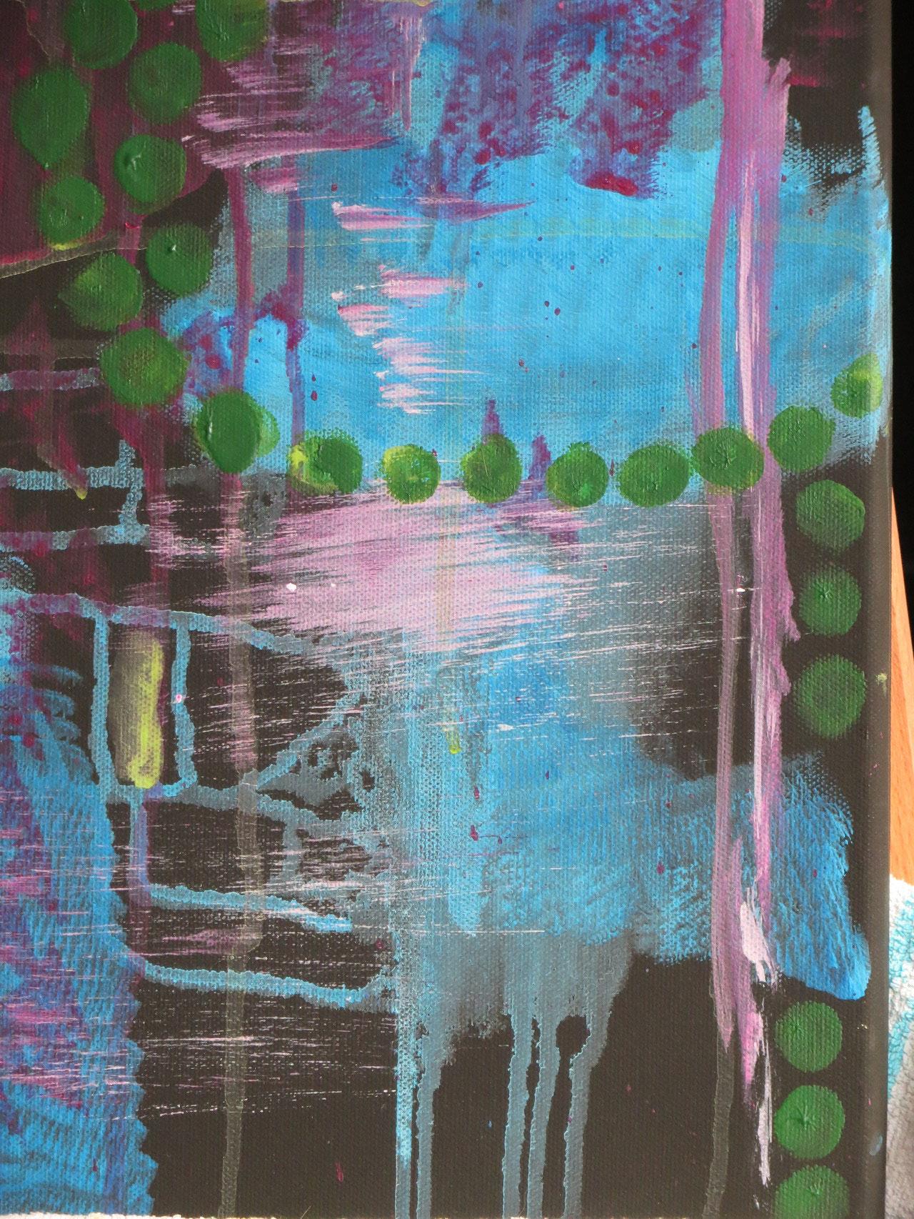Farbe auftragen und fließen lassen
