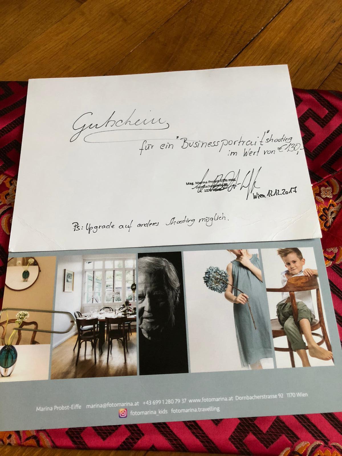 Business- Fotoshooting  im Wert von 130 Euro