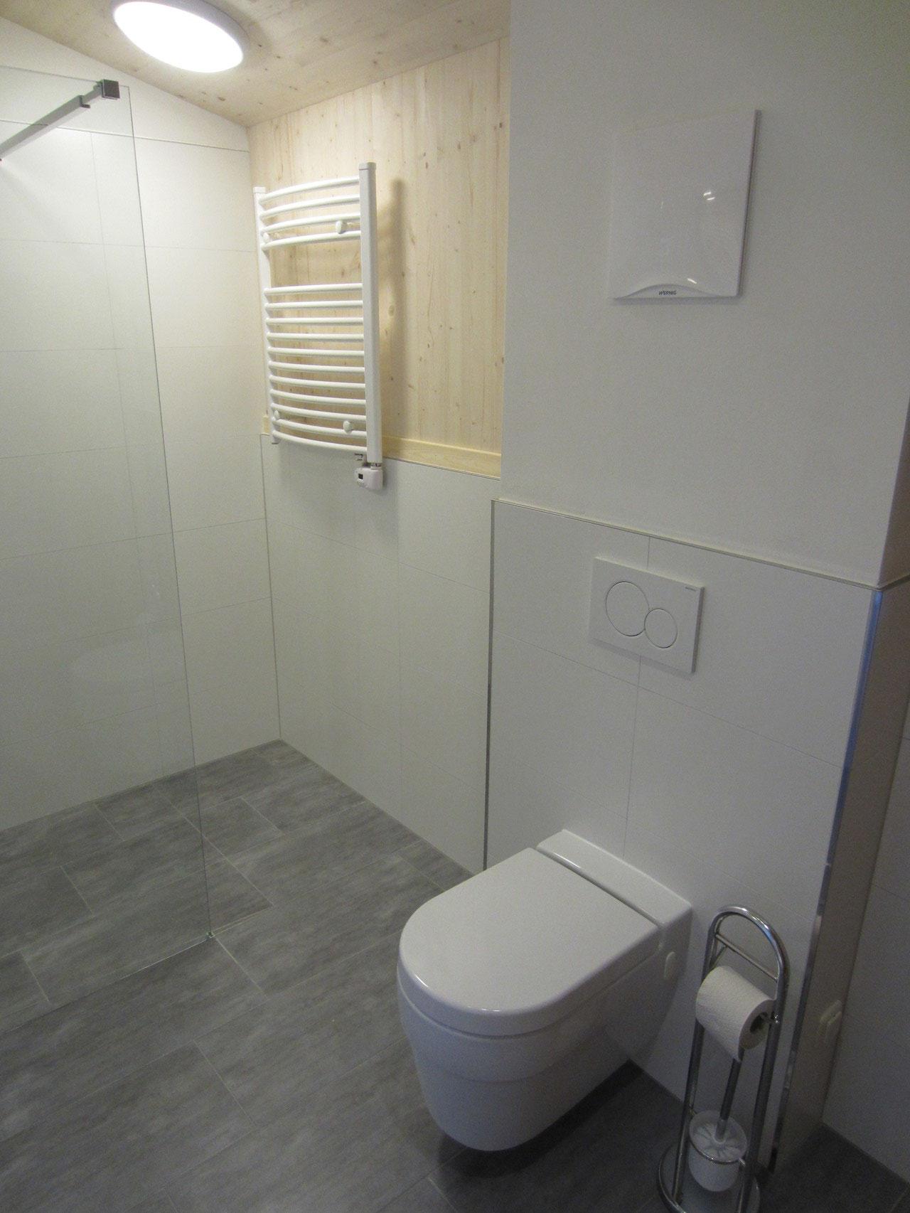 Toilette und Handtuchheizkörper