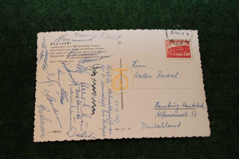 Weihnachtskarte von der B-Nationalmannschaft auf der Reise in Budapest am 21.12.1957.