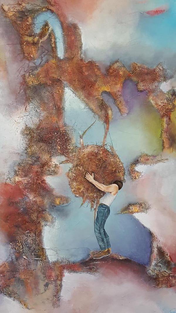 Yo, el cargador/Ich, ein Tragender, 2017, 70 x 100 cm, Mischtechnik