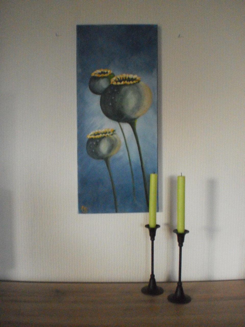 Mohnkapseln - 70 x 30 cm - Acryl