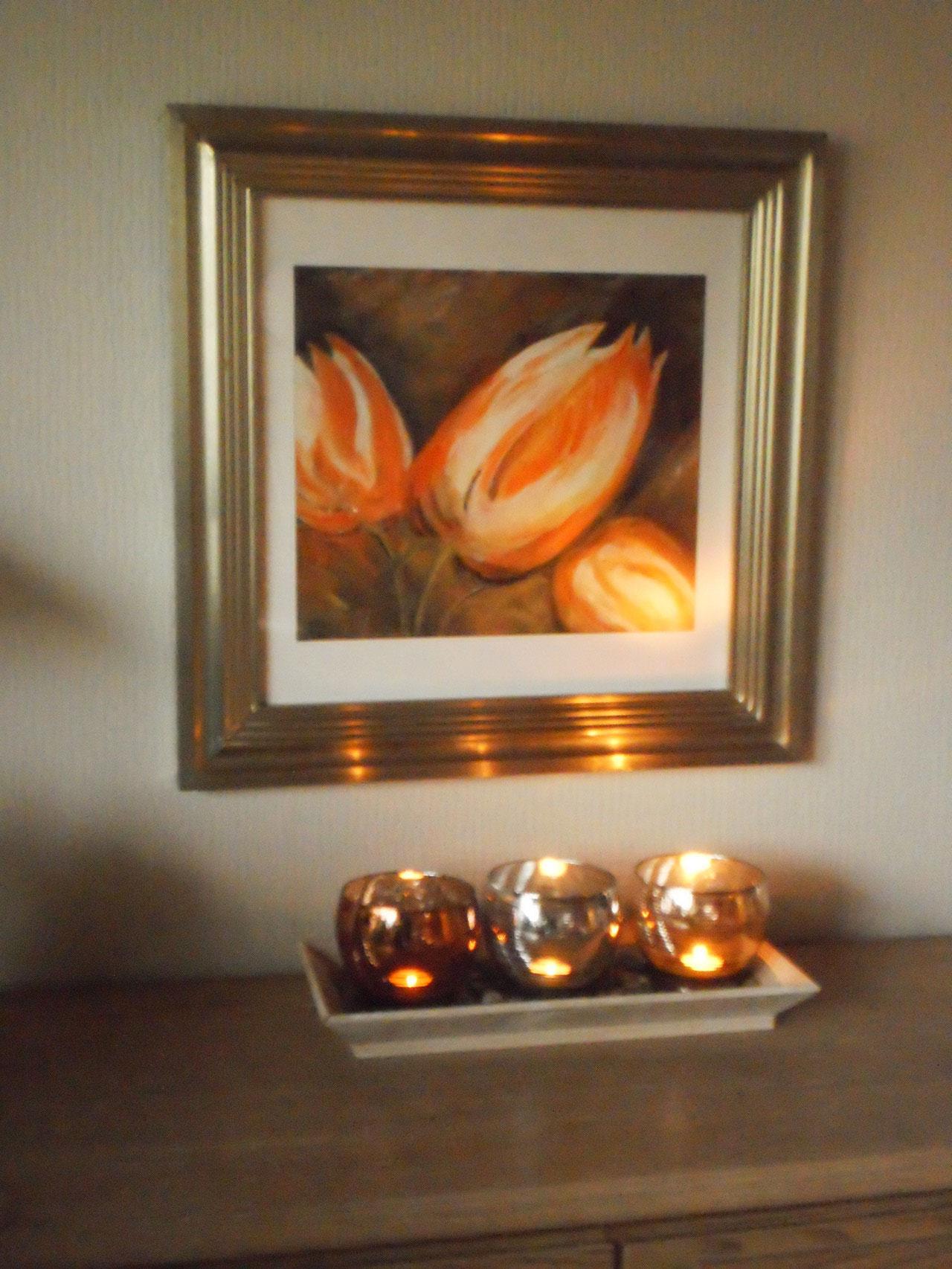 Tulpen im Silberrahmen - 64x 64 cm incl. Rahmen - Acryl
