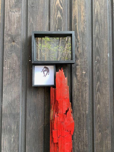 赤いマントの男~ウィンドウに映る若葉がかわいい