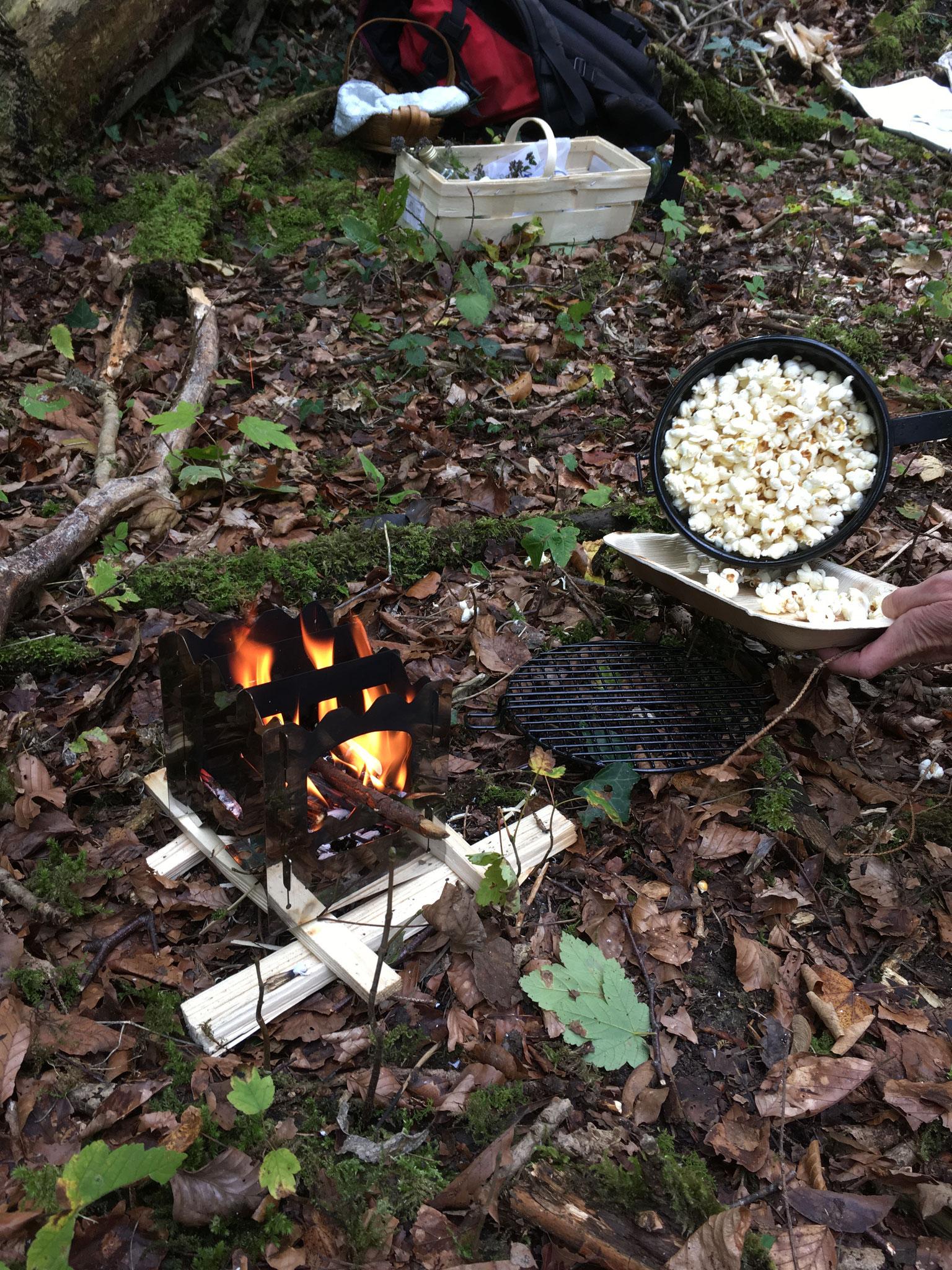 Popcorn auf dem Hobokocher zubereitet