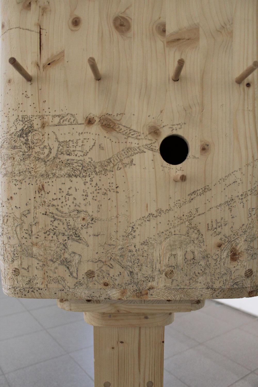 Angry Birds (Tour du Bego), 2020. Bois, 92,5 x 61,5 x 46 cm
