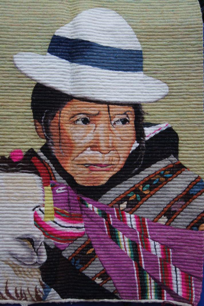 Handgewebte Wandteppiche in der Altstadt von La Paz