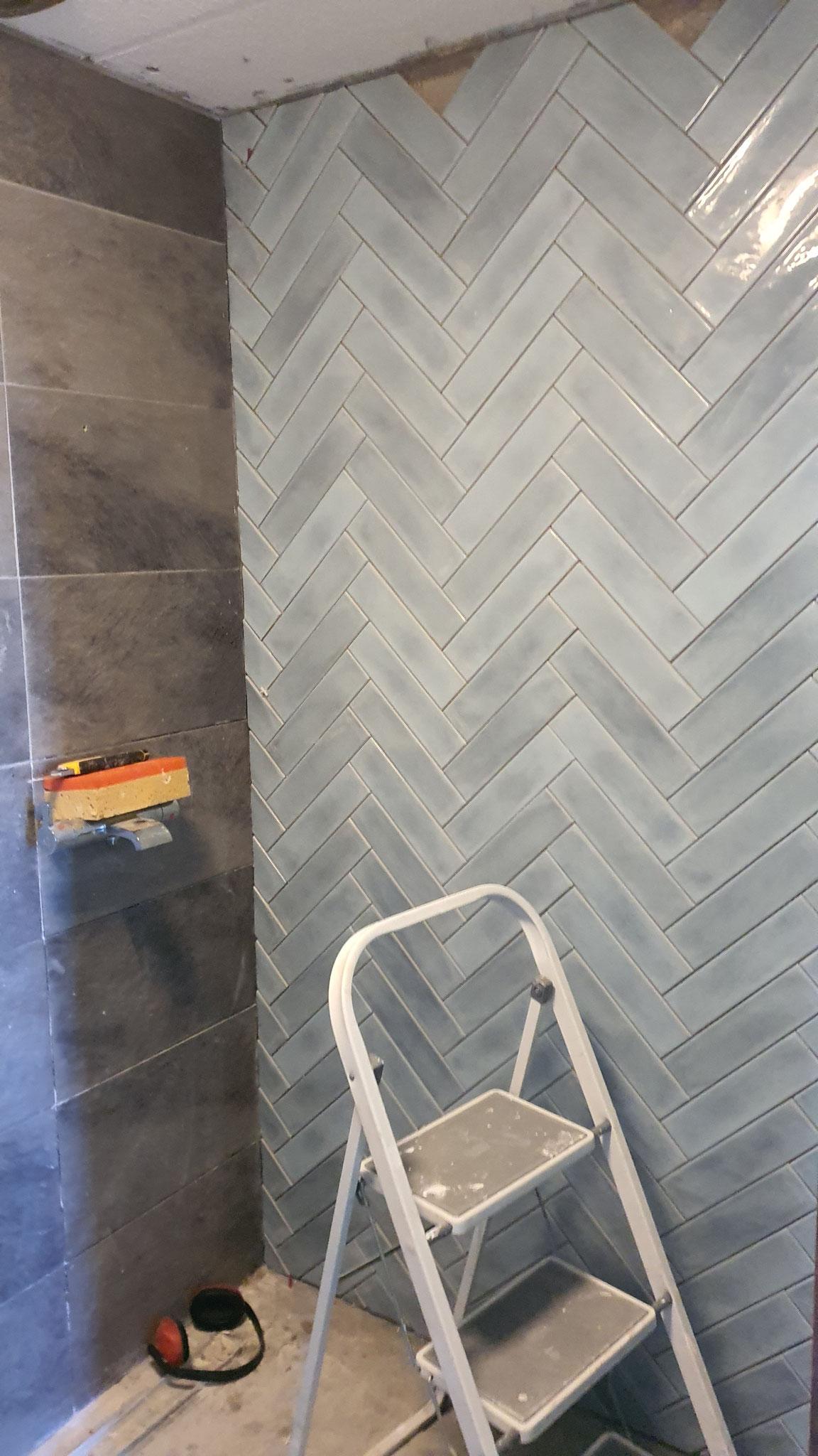 renovatie badkamer  ( inbouw bad verwijdert, voor douch gedeelde, nieuw tegelwerk enz )