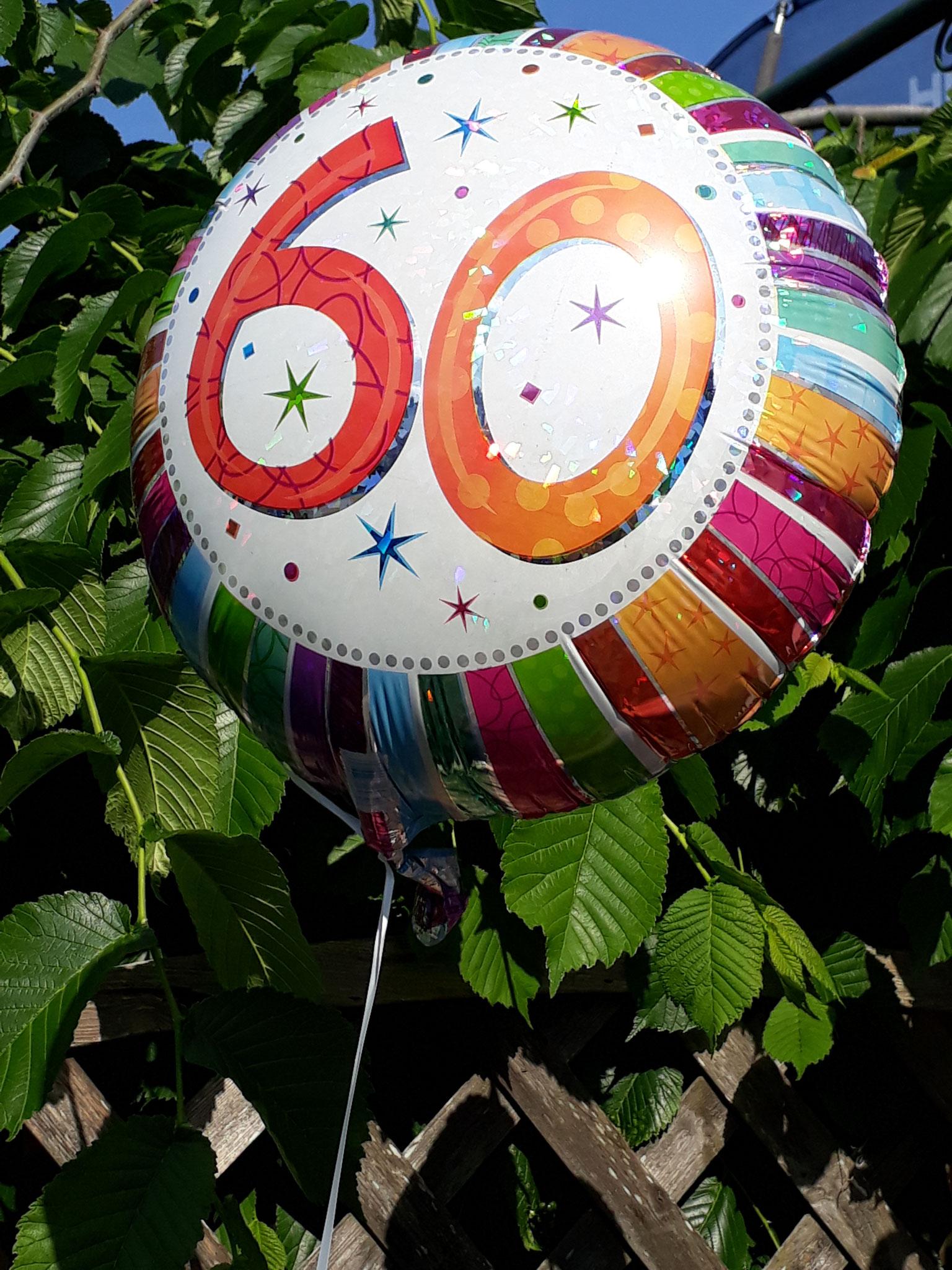 """Helium-gefüllter Folien-Ballon """"zum 60. Geburtstag"""""""