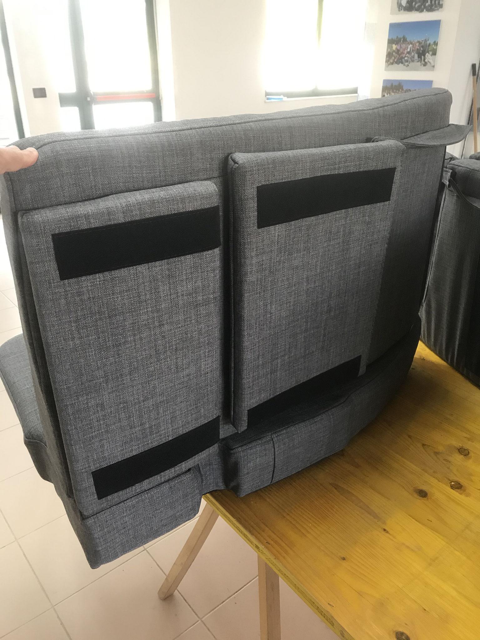 mit raffinierten Teilen - TV Halterung Einbau / TV mounting integrated in cushion