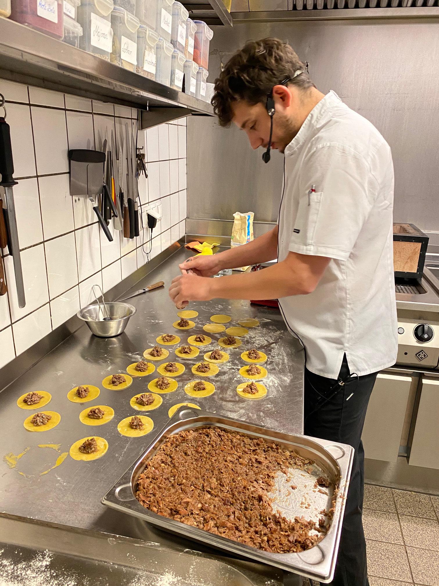 Entenragout-Ravioli Zubereitung