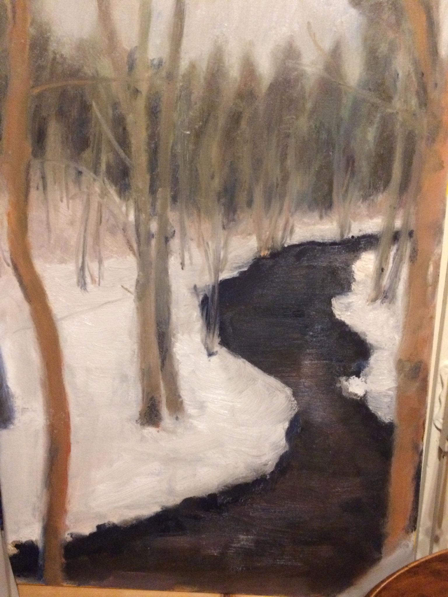 Winterlandschap. olie op doek. 50 bij 60 cm.