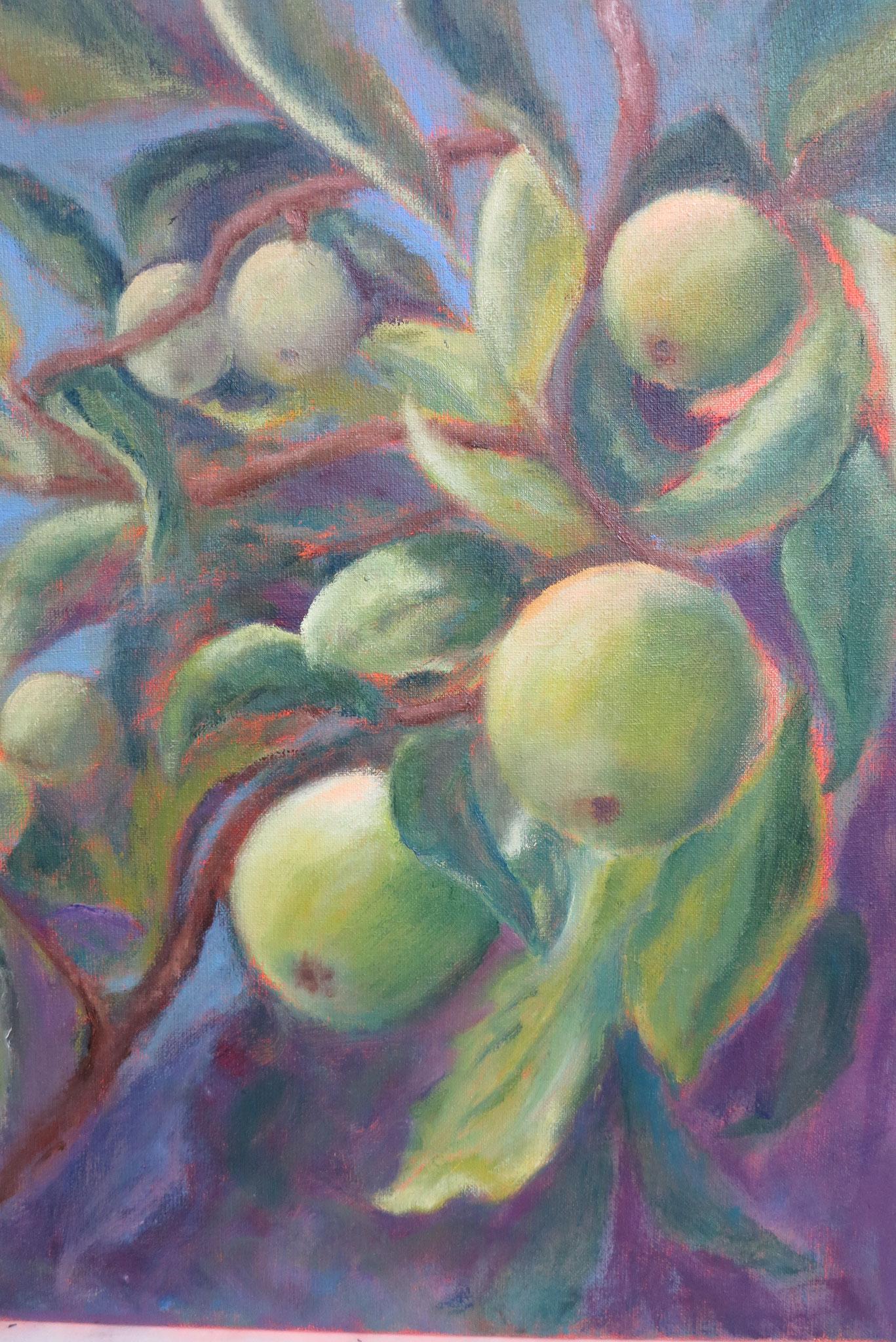 VERKOCHT appels in paars II 40x50cm olie op linnen. 2019.