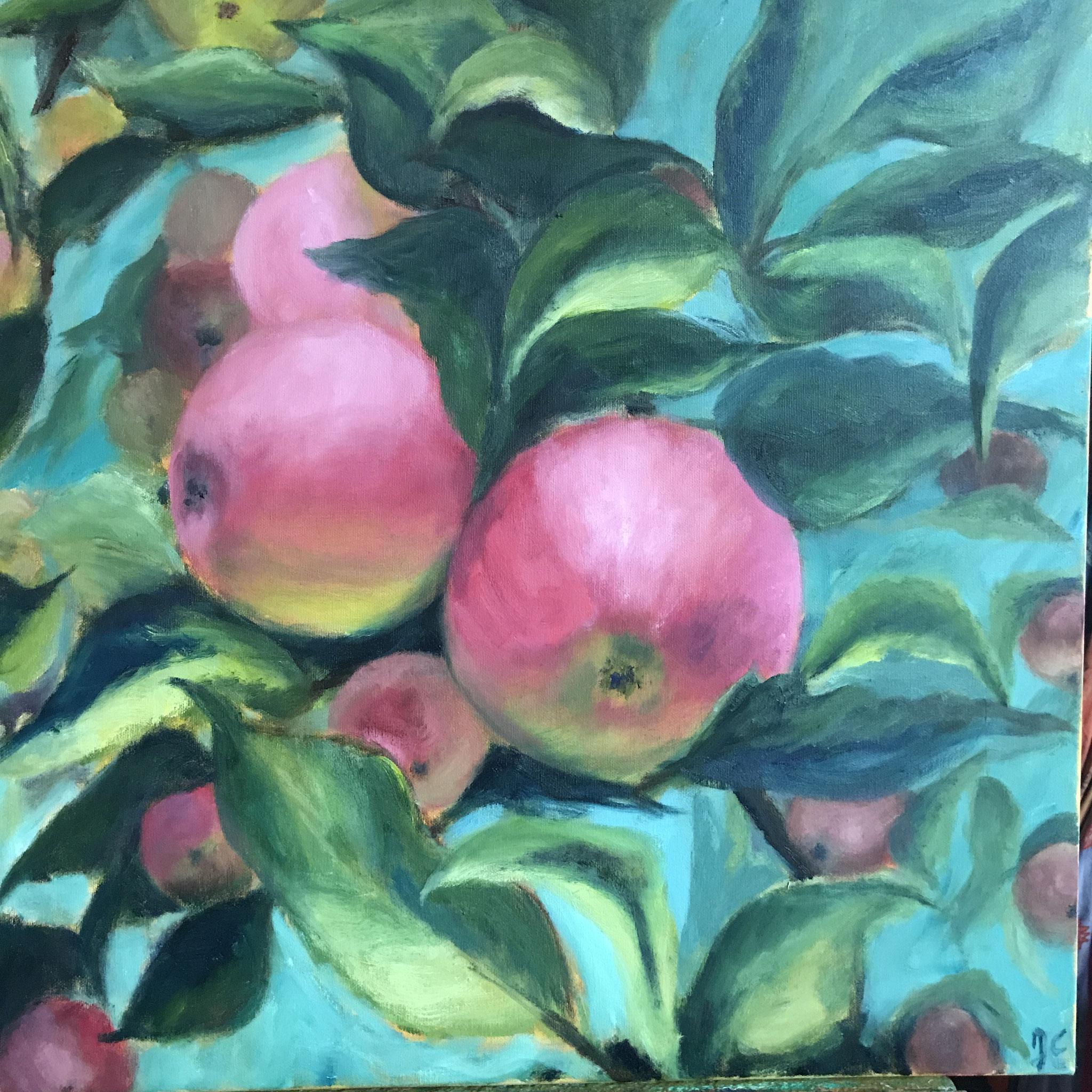Appels in  veridiaan. 60x60cm. olie op linnen. 2021.